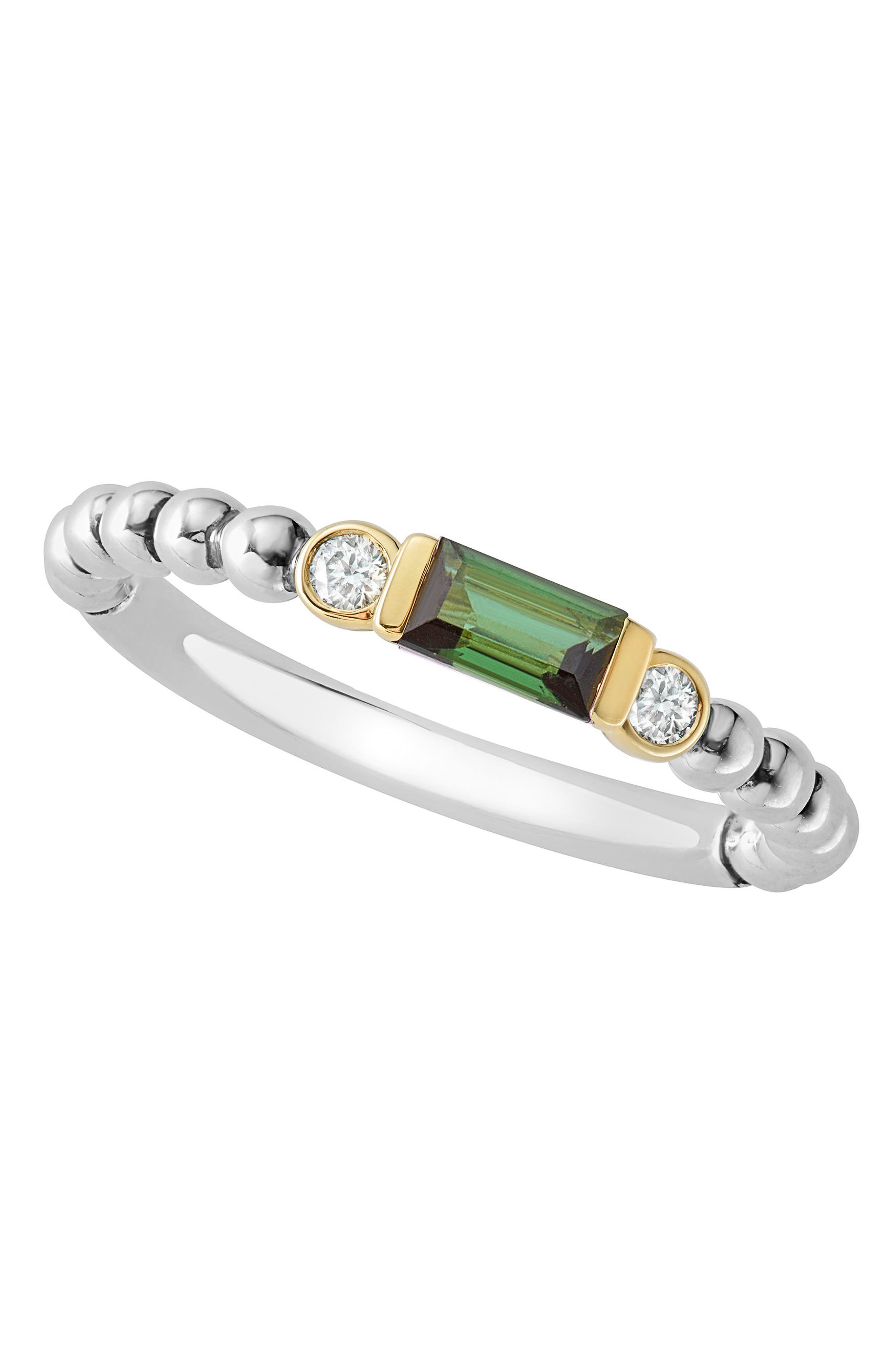 Gemstone Baguette and Diamond Beaded Band Ring,                             Alternate thumbnail 4, color,                             SILVER/ 18K GOLD/ TOURMALINE