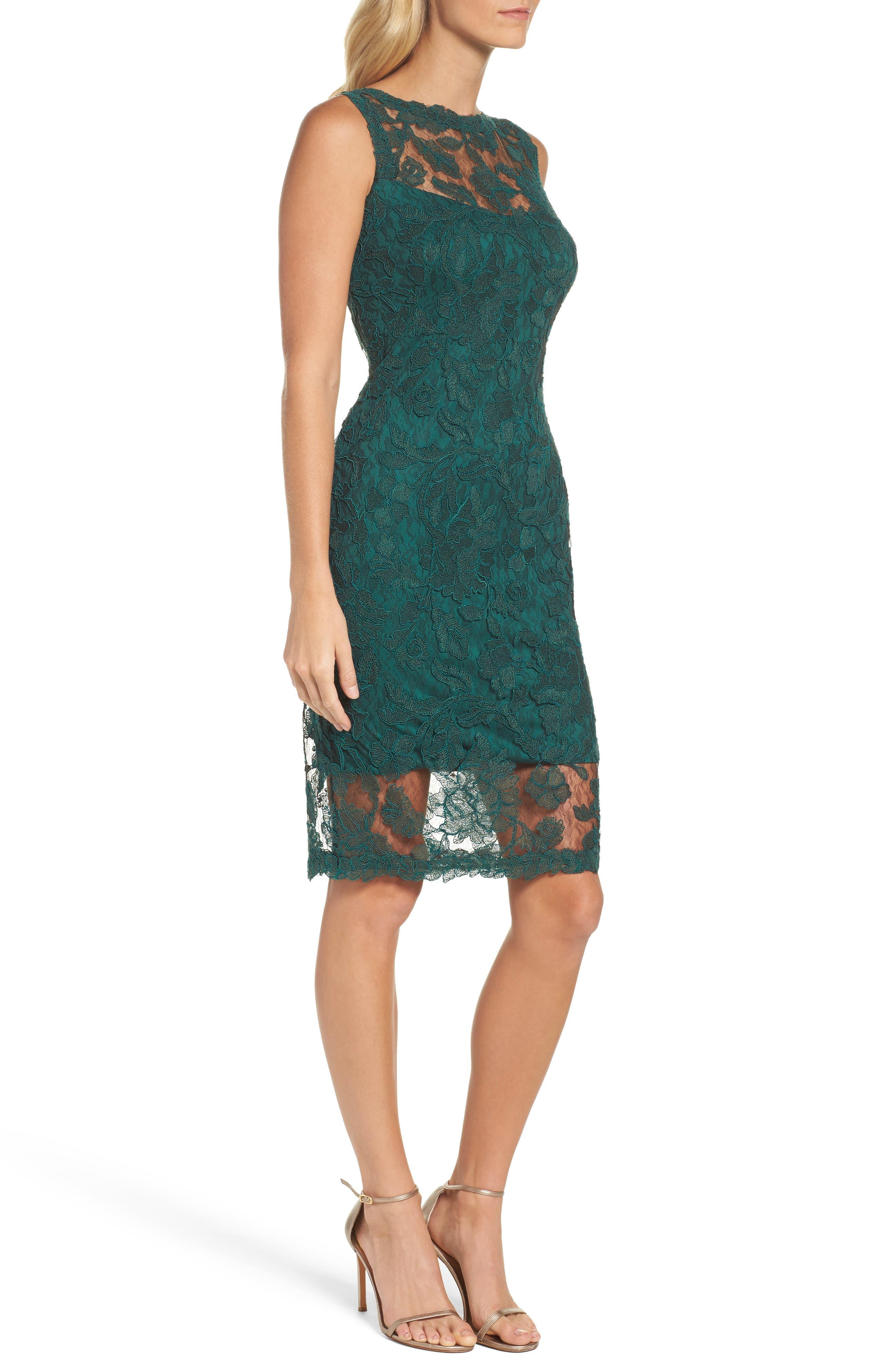 Corded Lace Sheath Dress,                             Alternate thumbnail 3, color,                             376