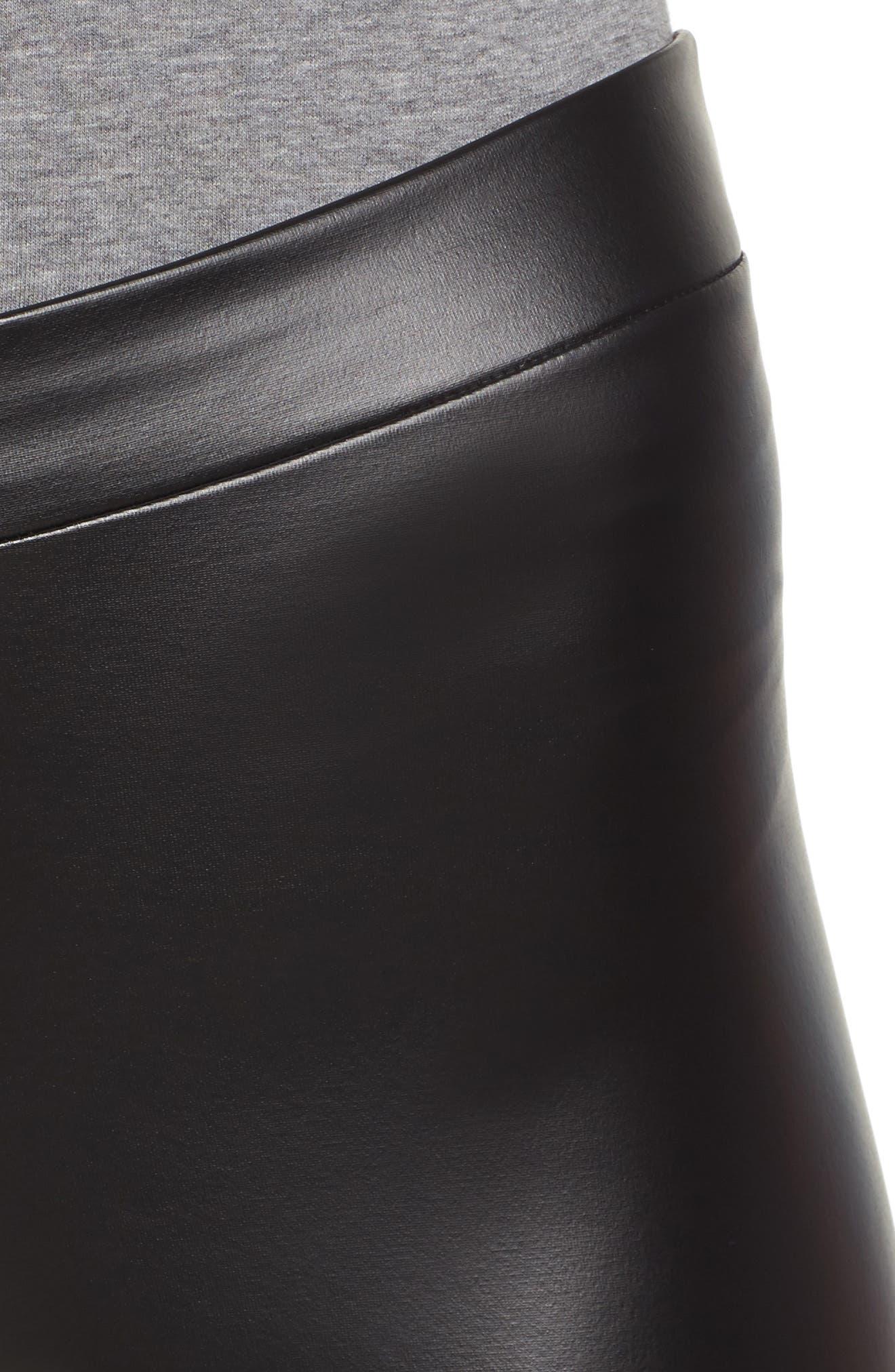 Plush Lined Faux Leather Leggings,                             Alternate thumbnail 4, color,                             001