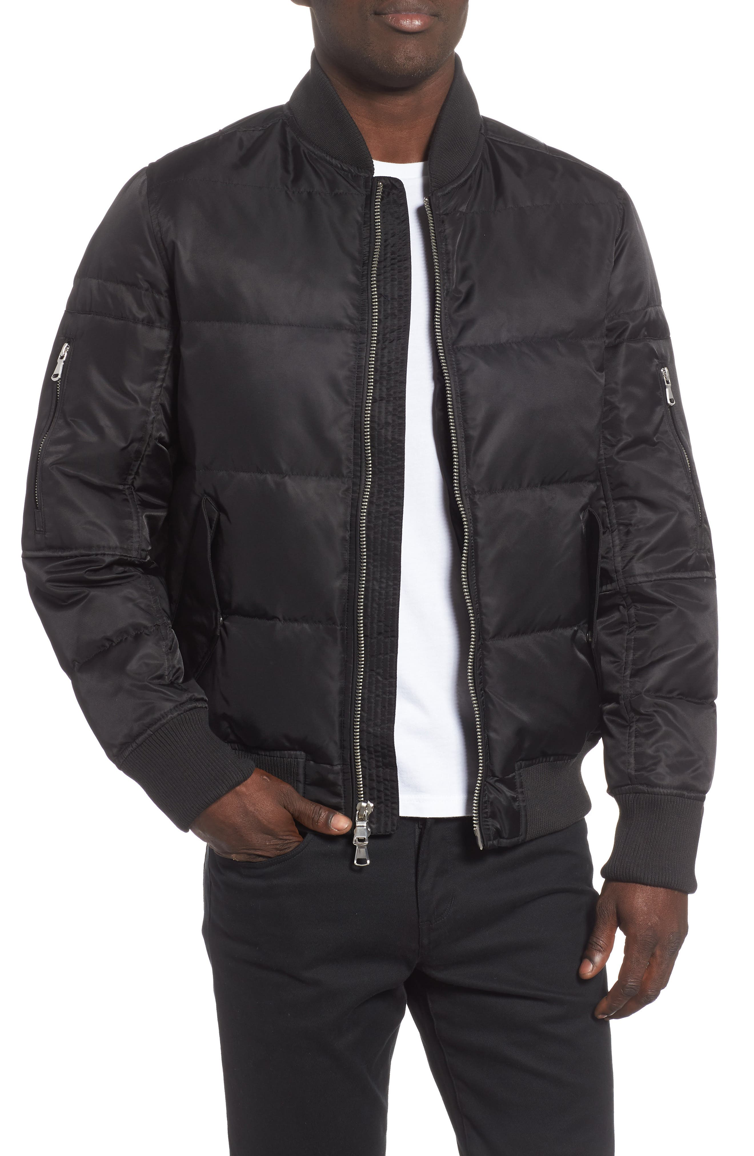 Vandal Down & Feather Fill Quilted Bomber Jacket,                         Main,                         color, BLACK