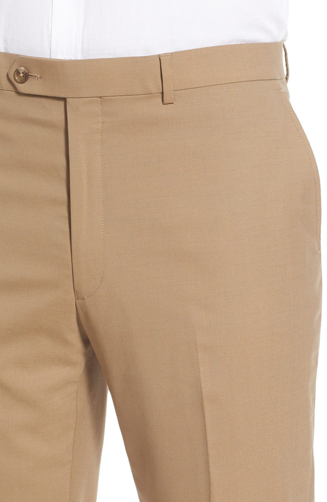 Flat Front Solid Stretch Wool Trousers,                             Alternate thumbnail 4, color,                             260
