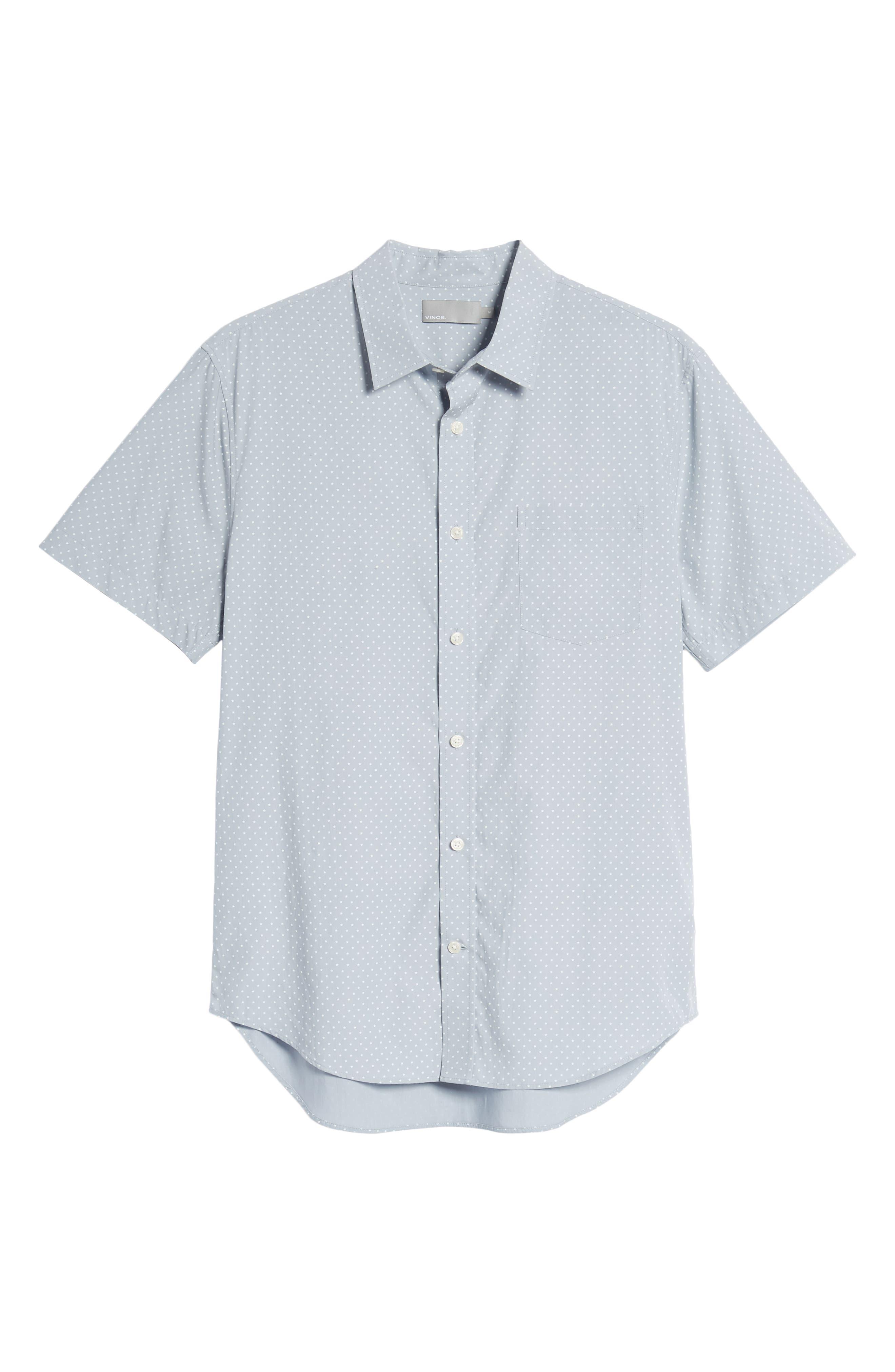 Classic Fit Micro Star Short Sleeve Sport Shirt,                             Alternate thumbnail 6, color,                             ARCTIC