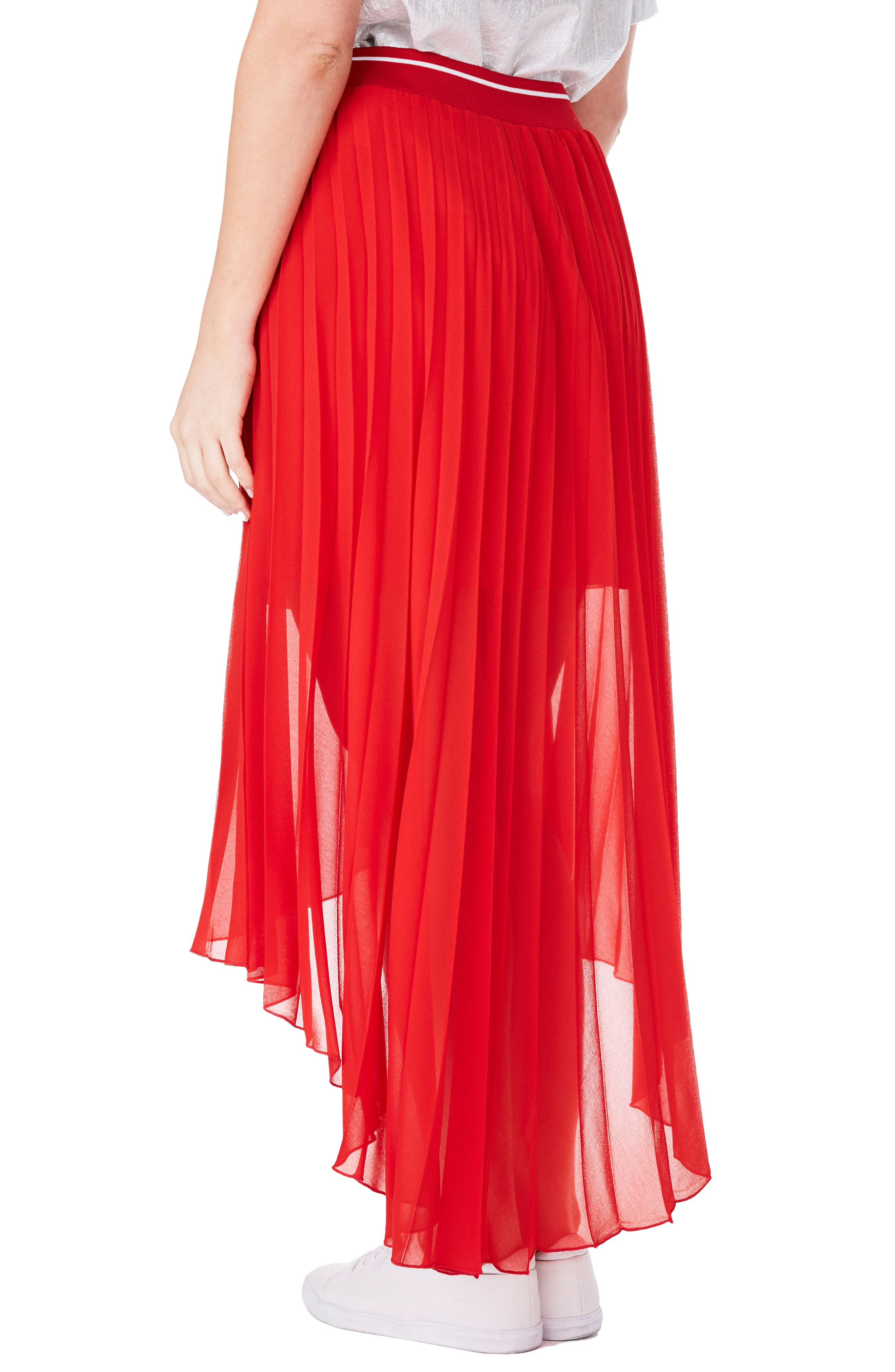 Pleat Chiffon High/Low Skirt,                             Alternate thumbnail 2, color,
