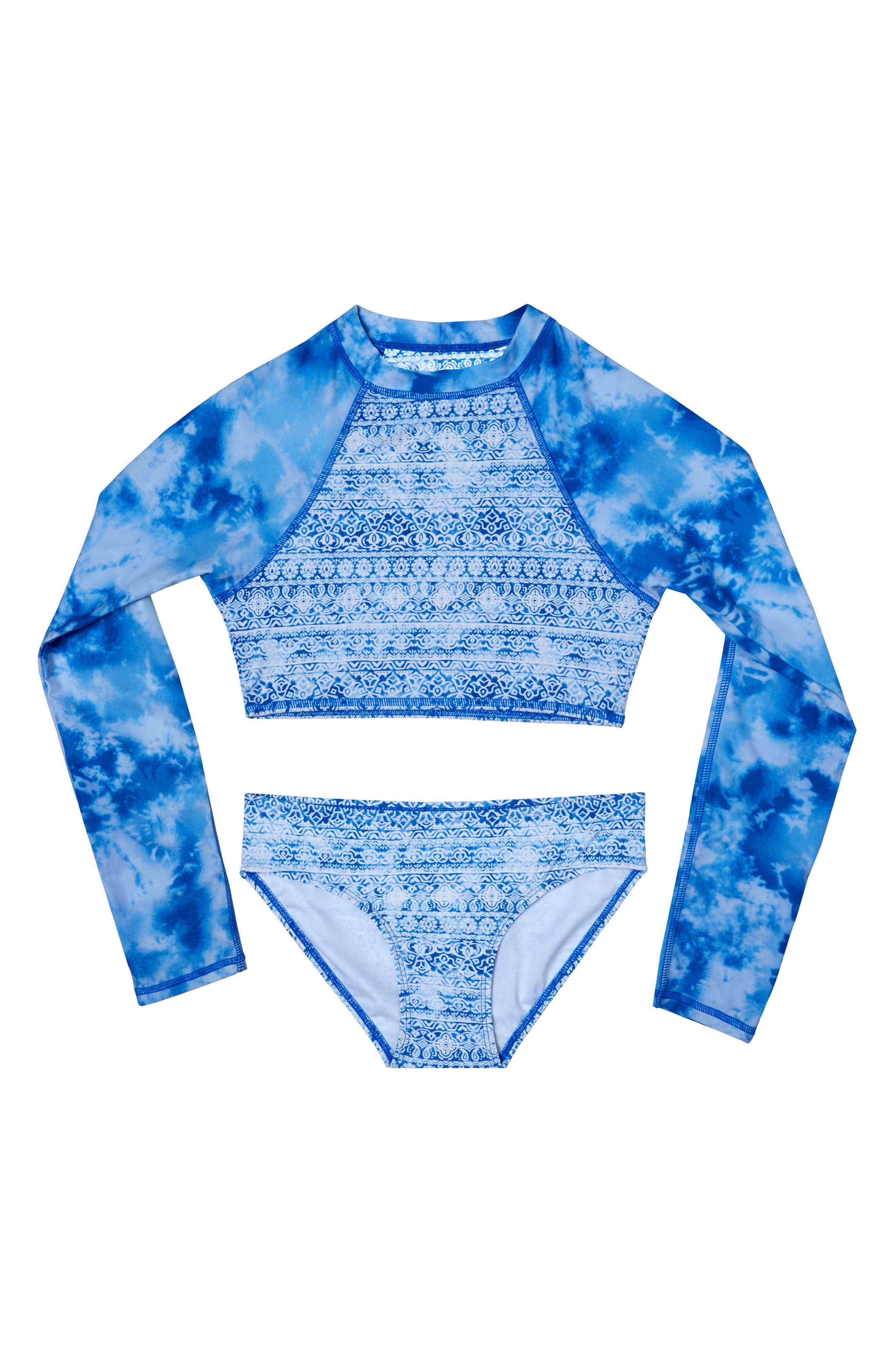 Jeans Addiction Two-Piece Rashguard Swimsuit,                             Main thumbnail 1, color,                             400