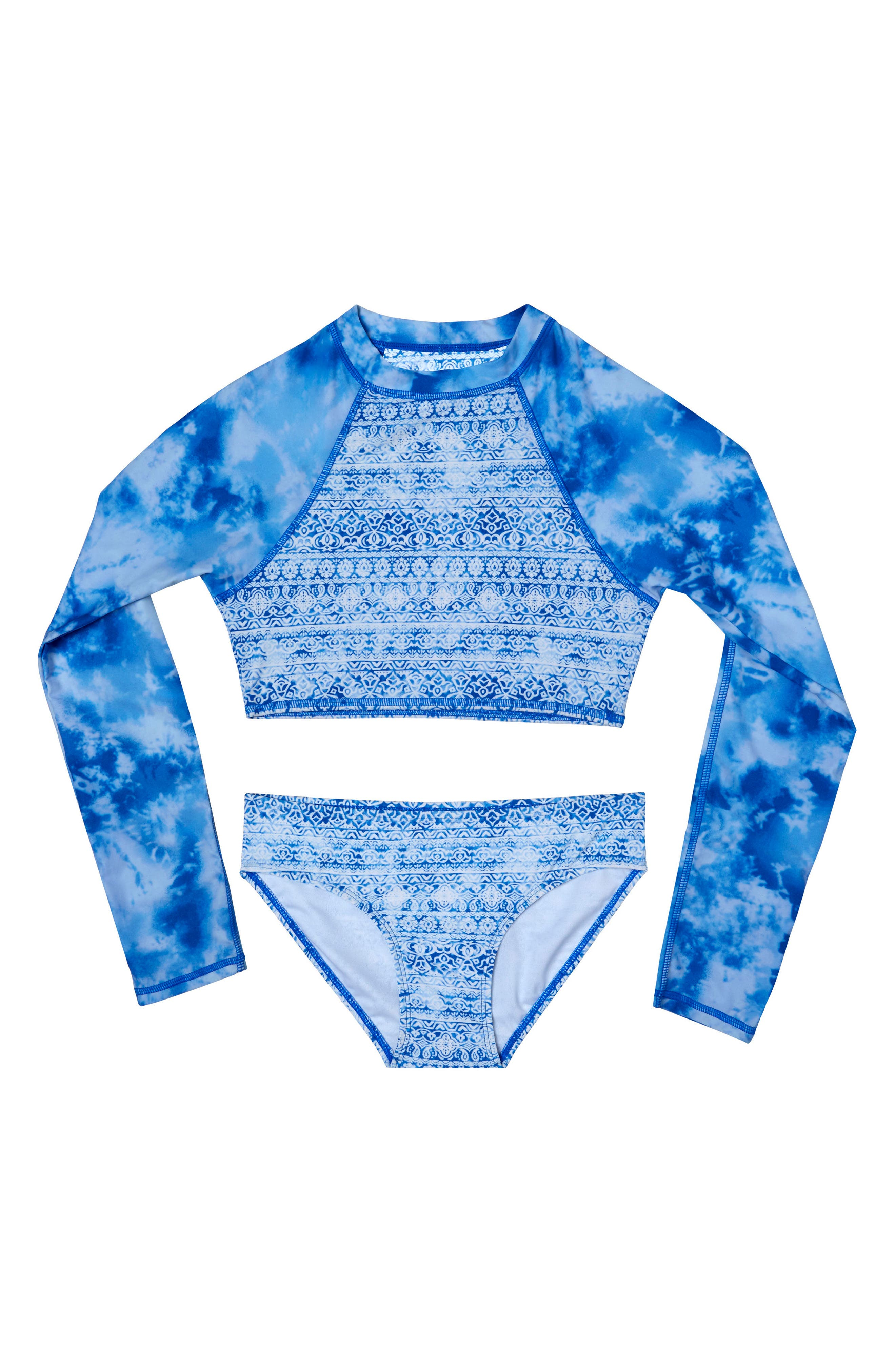 Jeans Addiction Two-Piece Rashguard Swimsuit,                         Main,                         color, 400