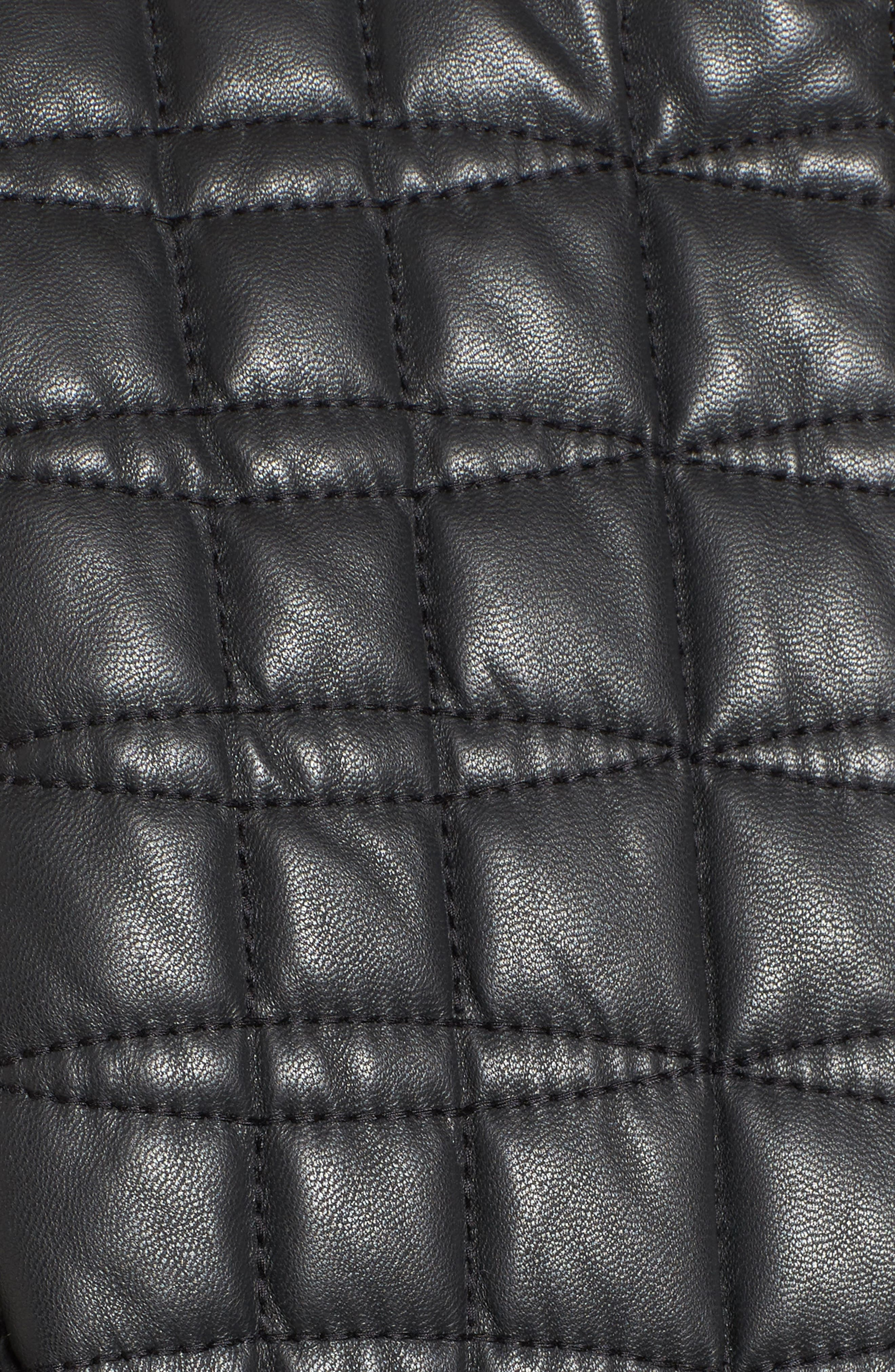 quilted leather jacket,                             Alternate thumbnail 6, color,                             BLACK