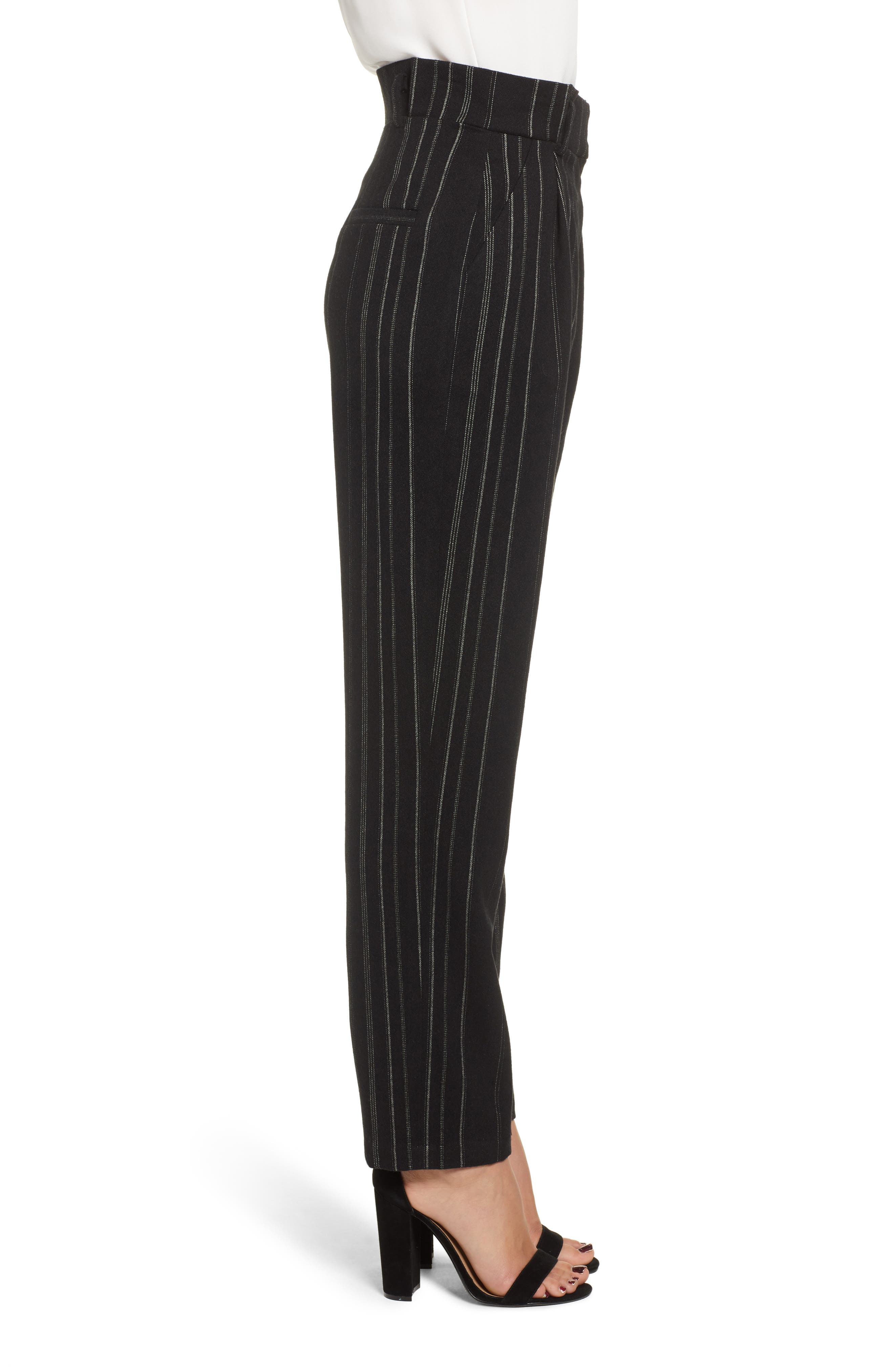 High Rise Belted Paperbag Pants,                             Alternate thumbnail 4, color,                             BLACK MIXED STRIPE