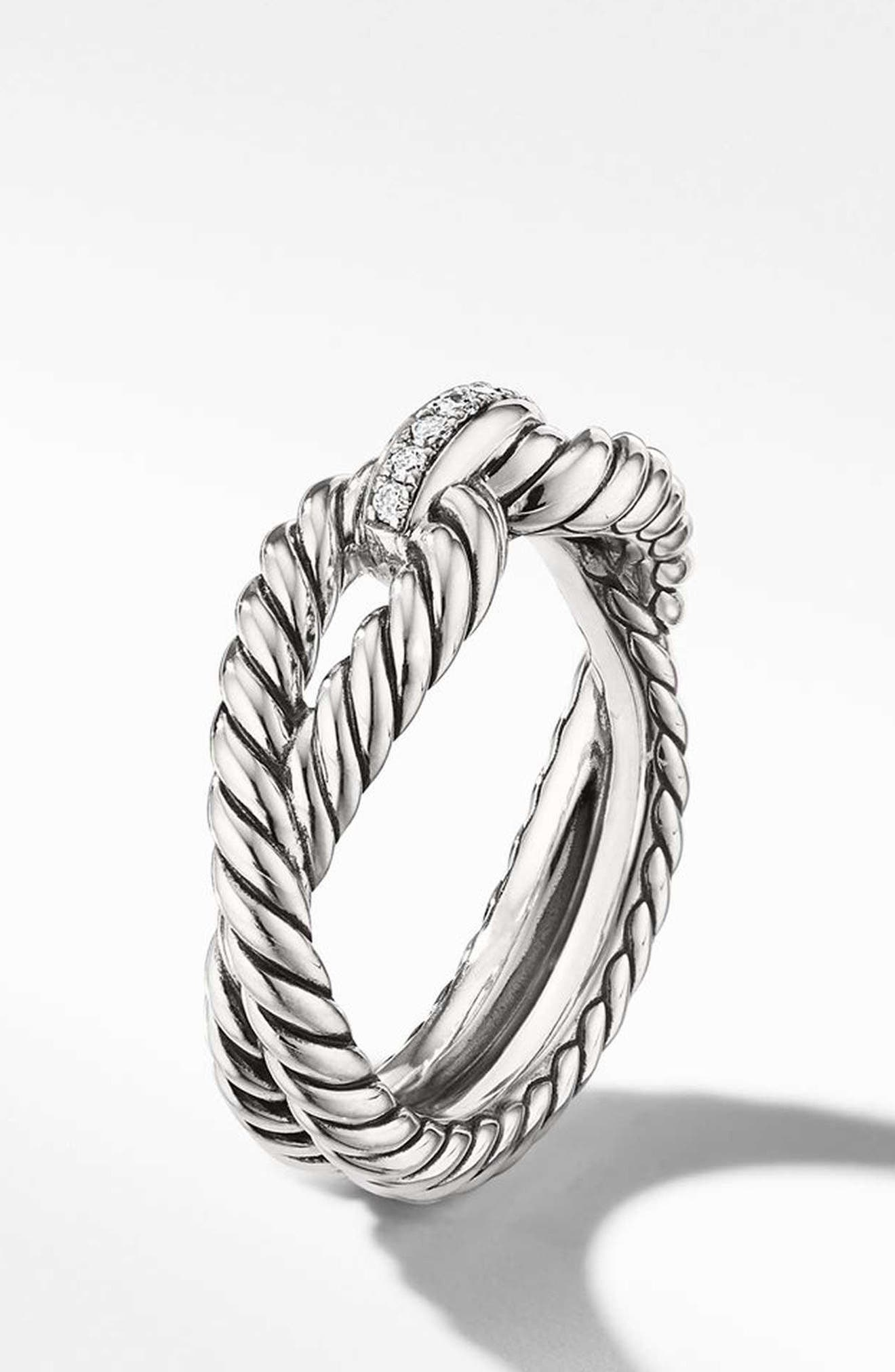 Cable Loop Ring with Diamonds,                             Alternate thumbnail 2, color,                             STERLING SILVER/ DIAMOND