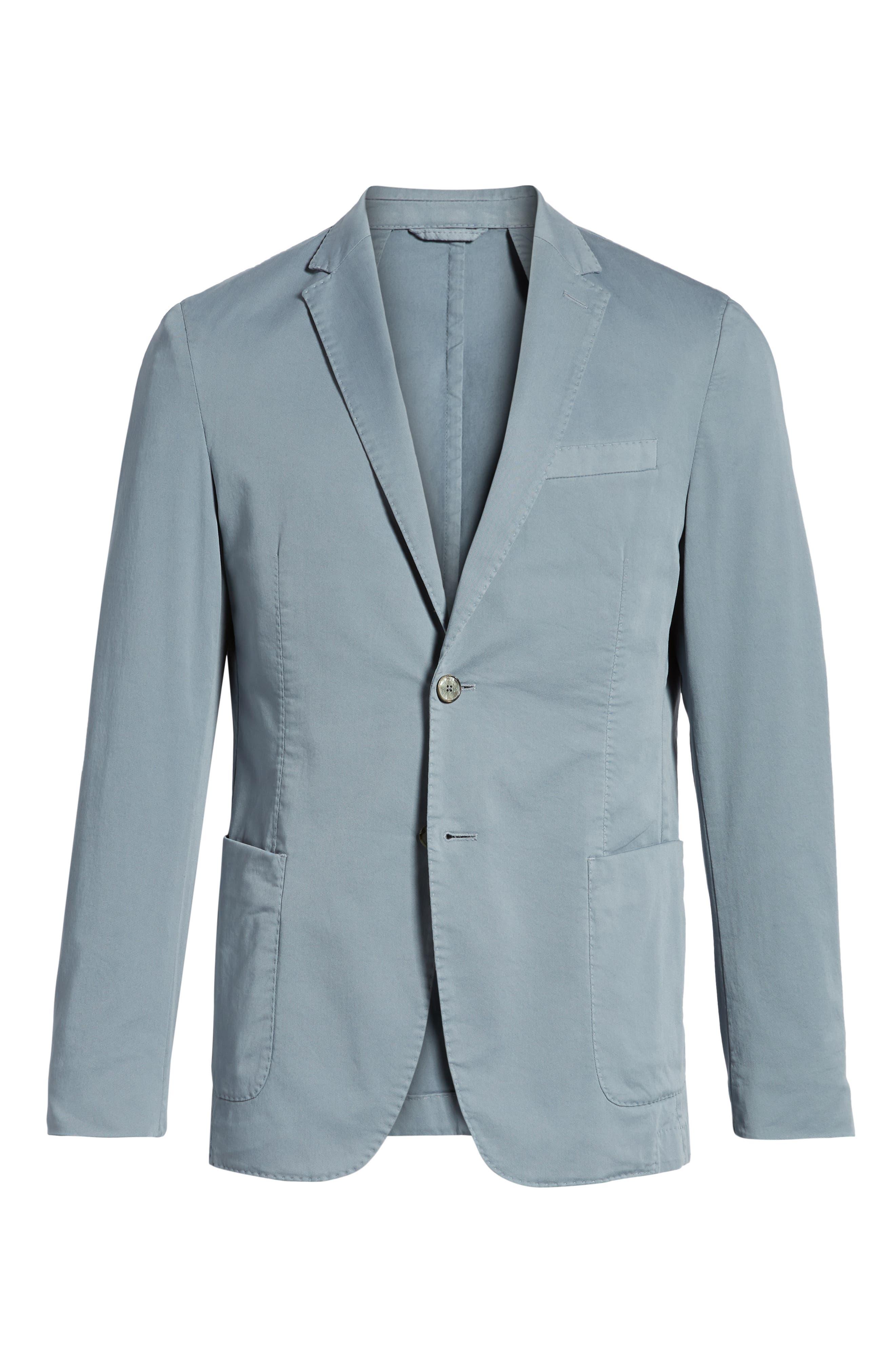 BOSS,                             Hanry-D Trim Fit Stretch Cotton Blazer,                             Alternate thumbnail 5, color,                             BLUE