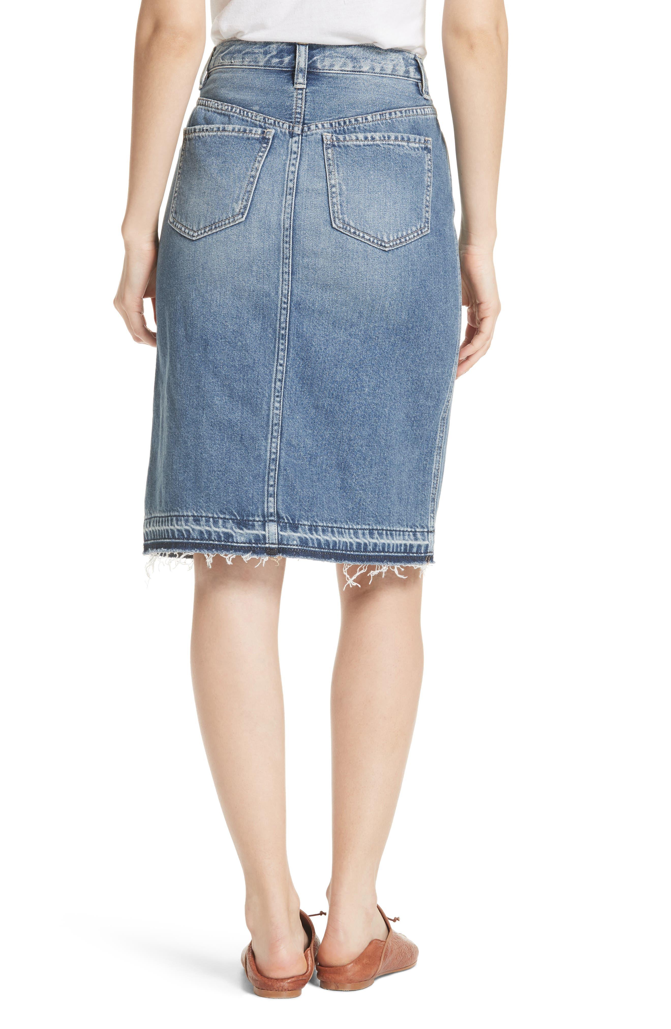 Front Slit Denim Skirt,                             Alternate thumbnail 2, color,                             400