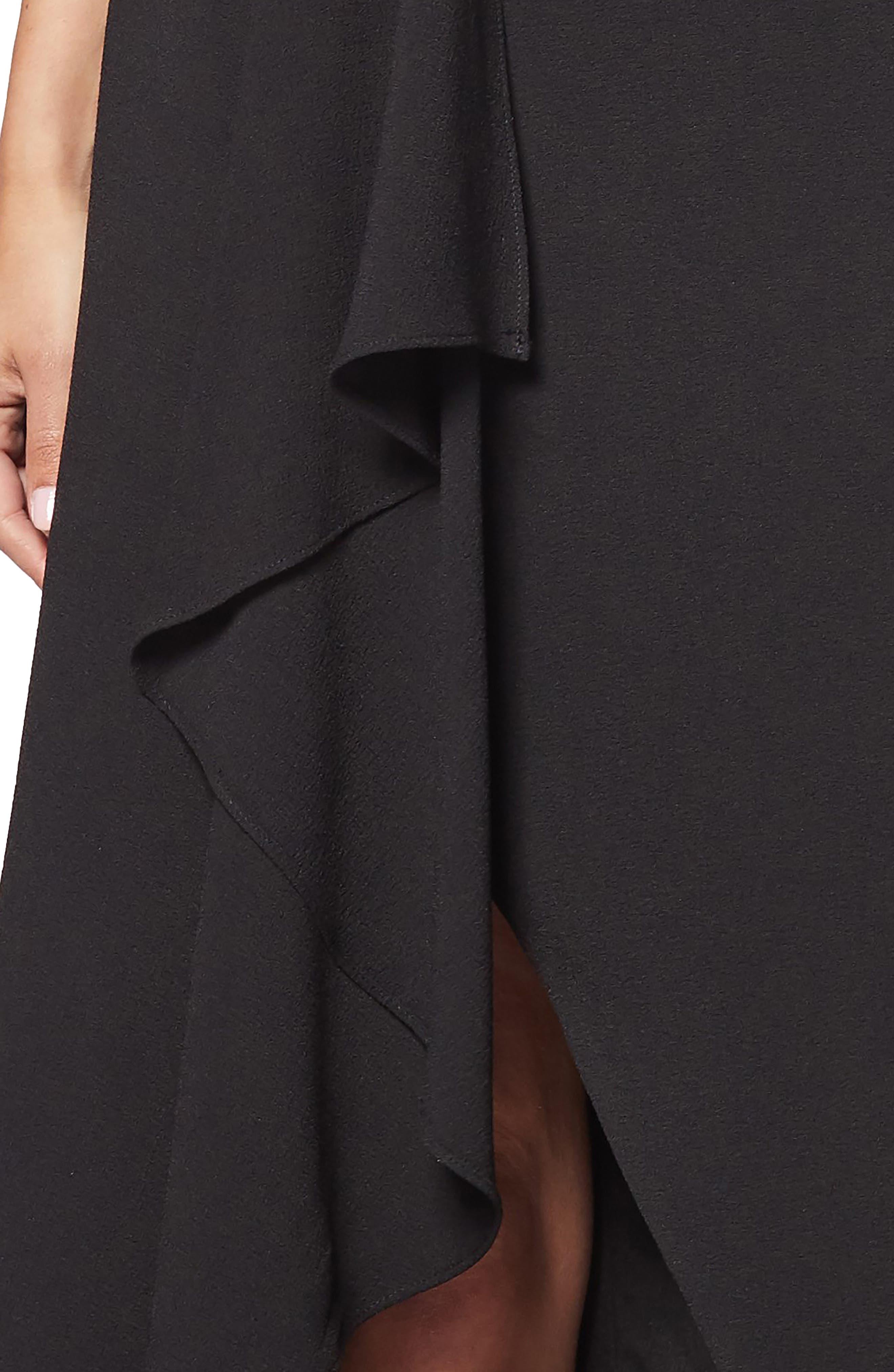 Alma Cap Sleeve Waterfall Crepe Gown,                             Alternate thumbnail 4, color,                             BLACK
