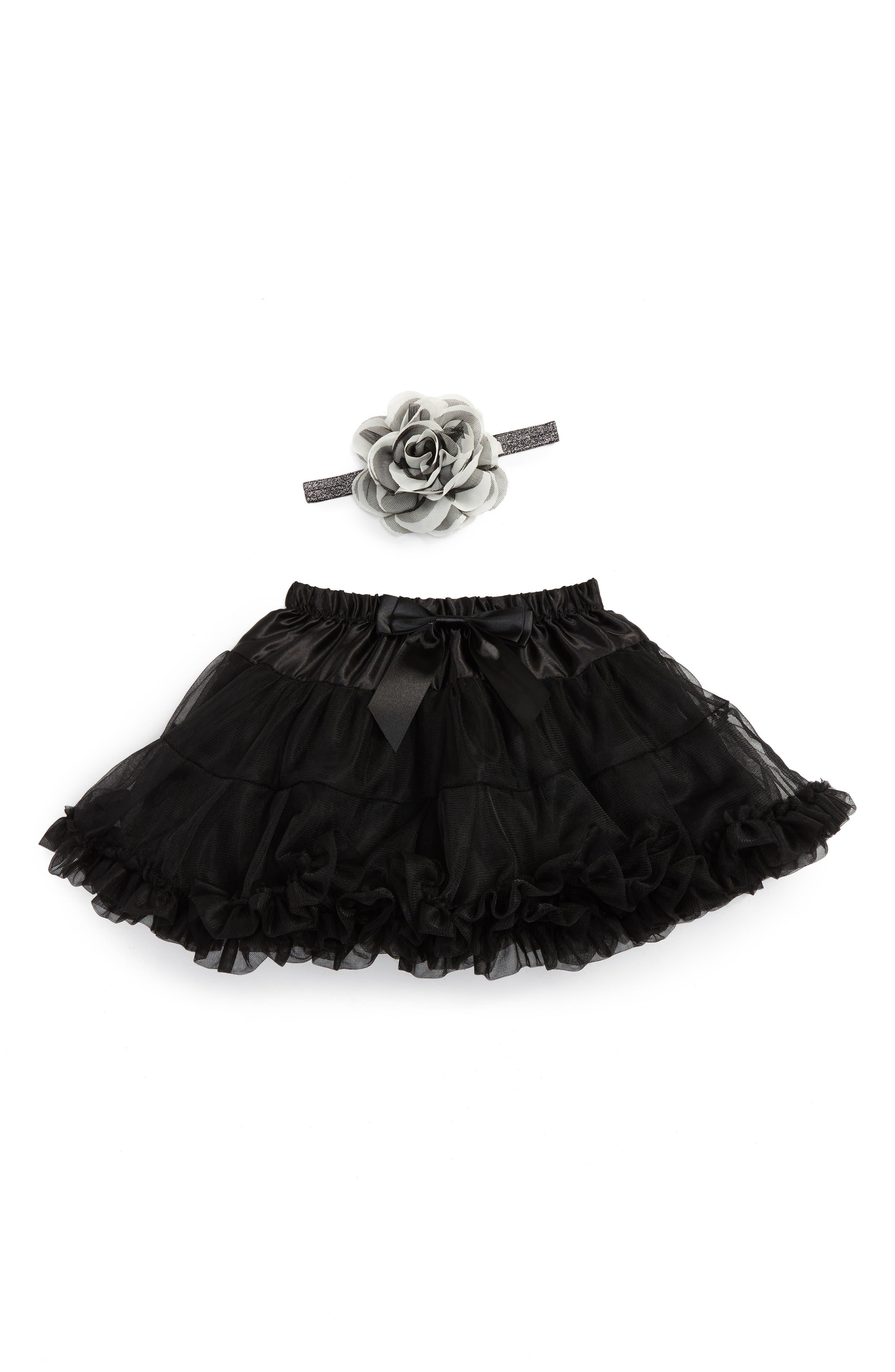 Tutu & Floral Appliqué Head Wrap Set,                             Alternate thumbnail 2, color,                             BLACK