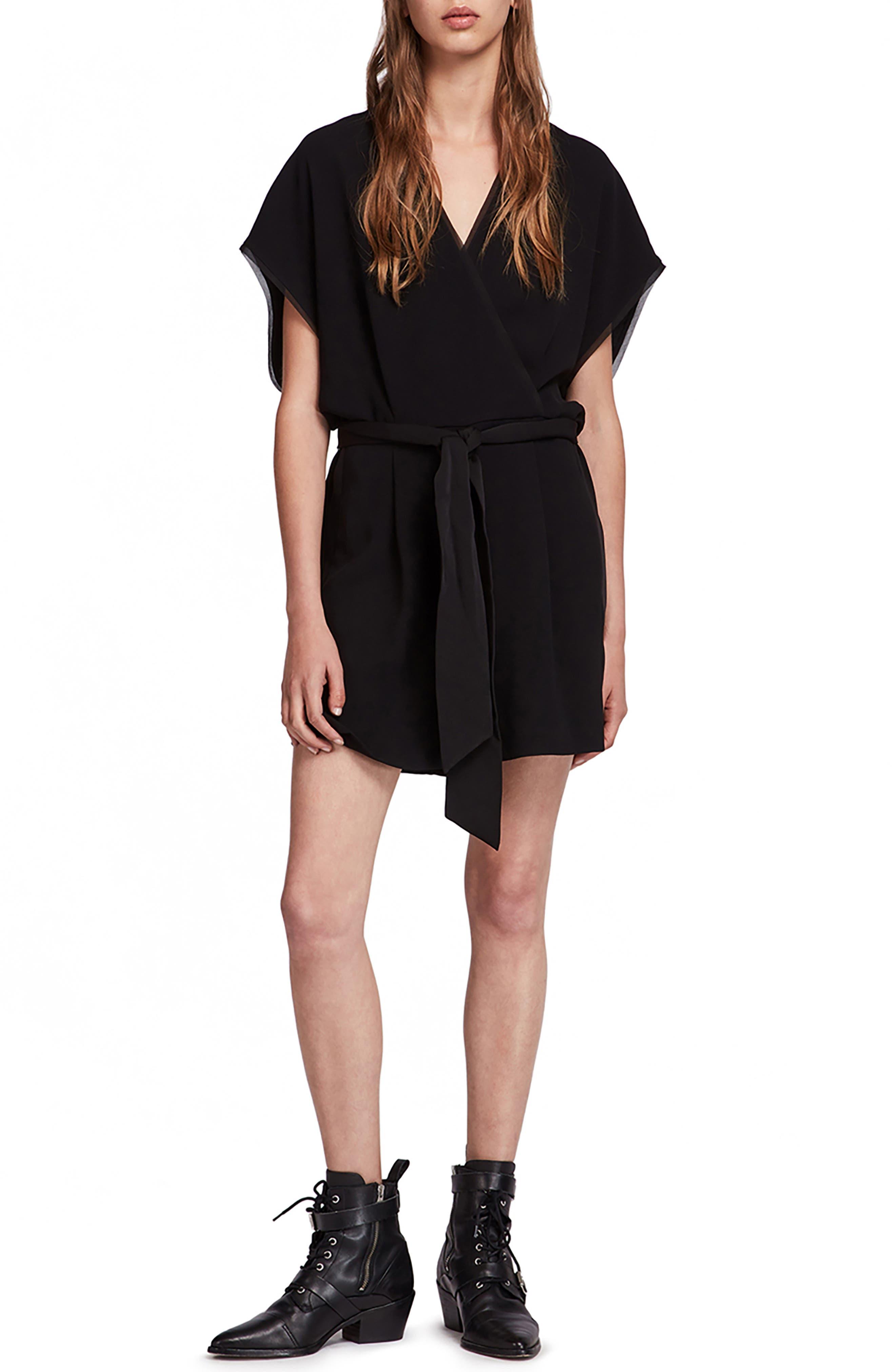 Reid Kimono-Style Romper in Black
