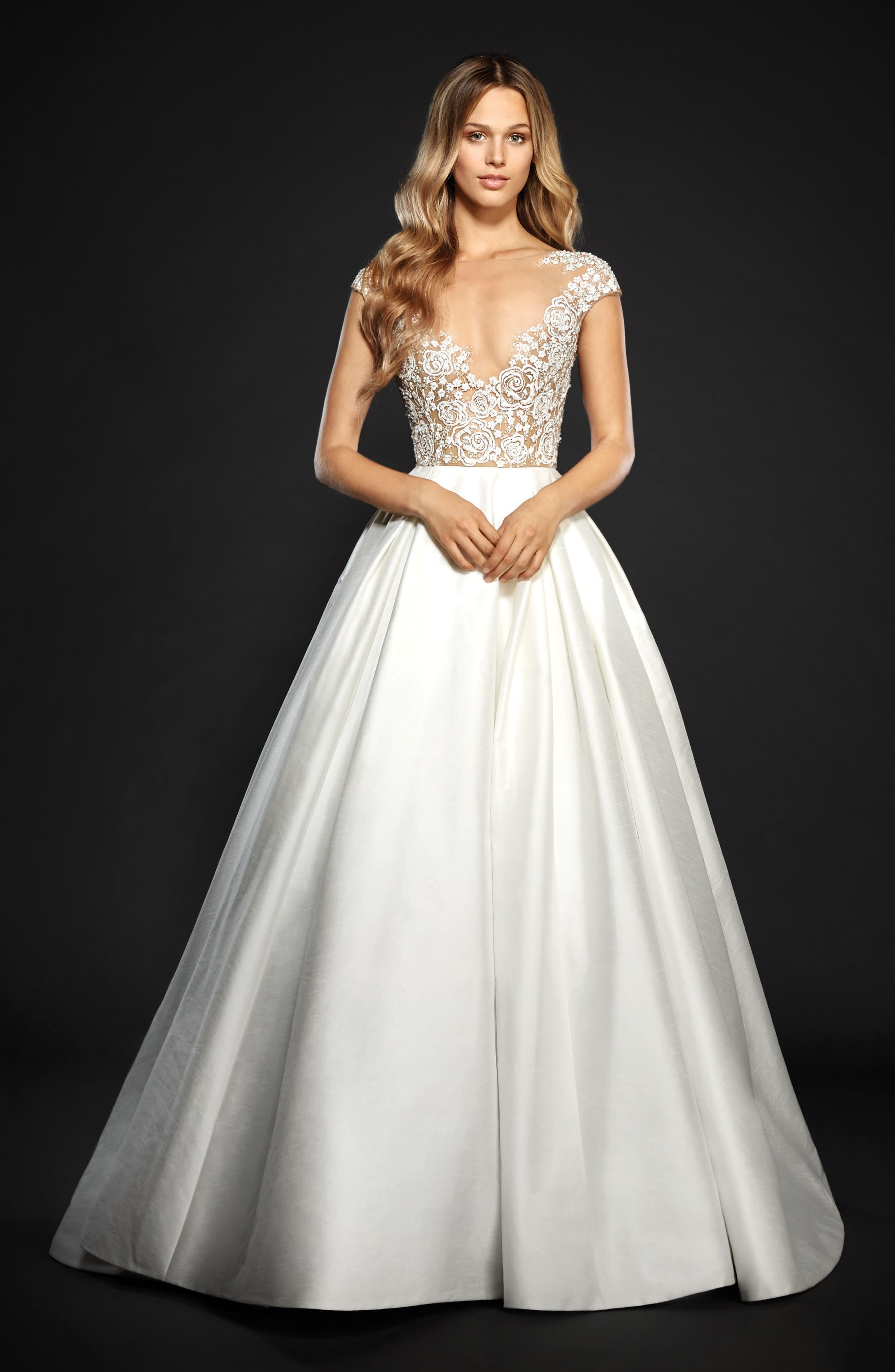 Chandler Floral Embroidered Illusion Ballgown,                             Alternate thumbnail 5, color,                             IVORY