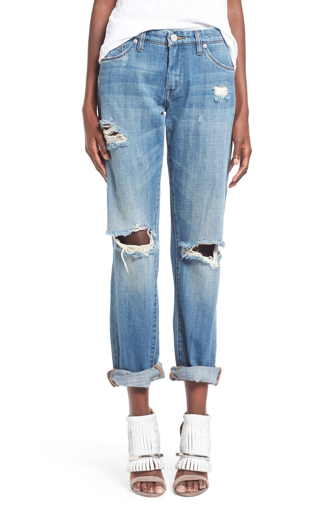 'Meant to Be' High Rise Distressed Boyfriend Jeans,                             Main thumbnail 1, color,                             400