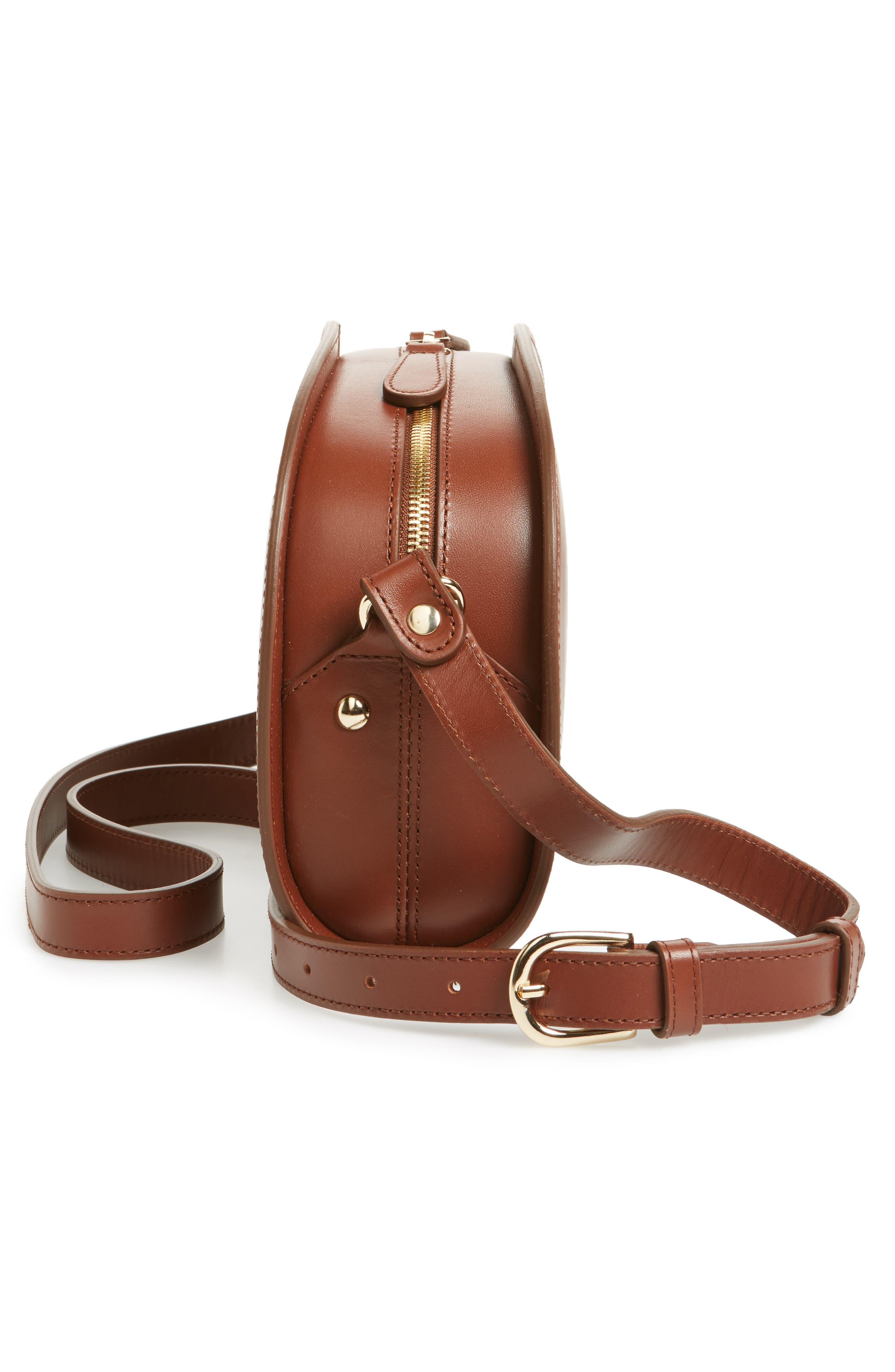 'Sac Demi Lune' Leather Crossbody Bag,                             Alternate thumbnail 5, color,                             NOISETTE