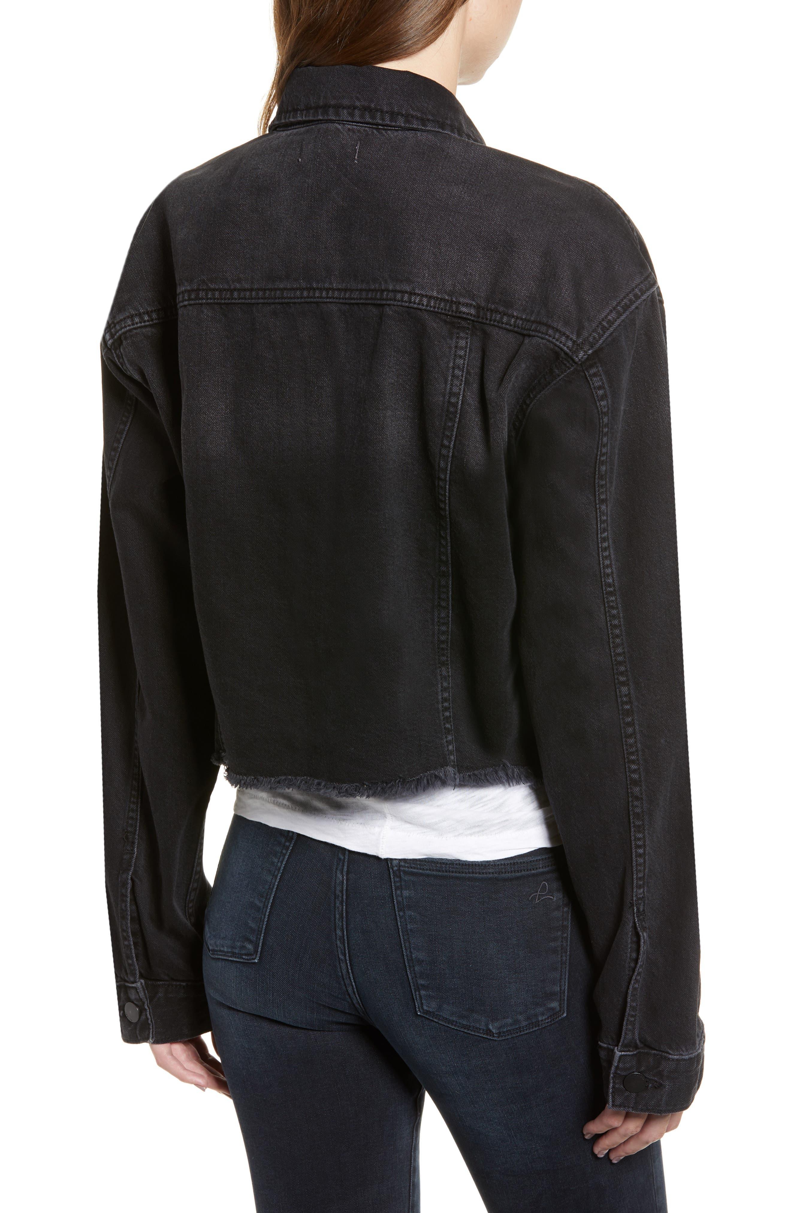 Annie Crop Denim Jacket,                             Alternate thumbnail 2, color,                             BLACKBURN