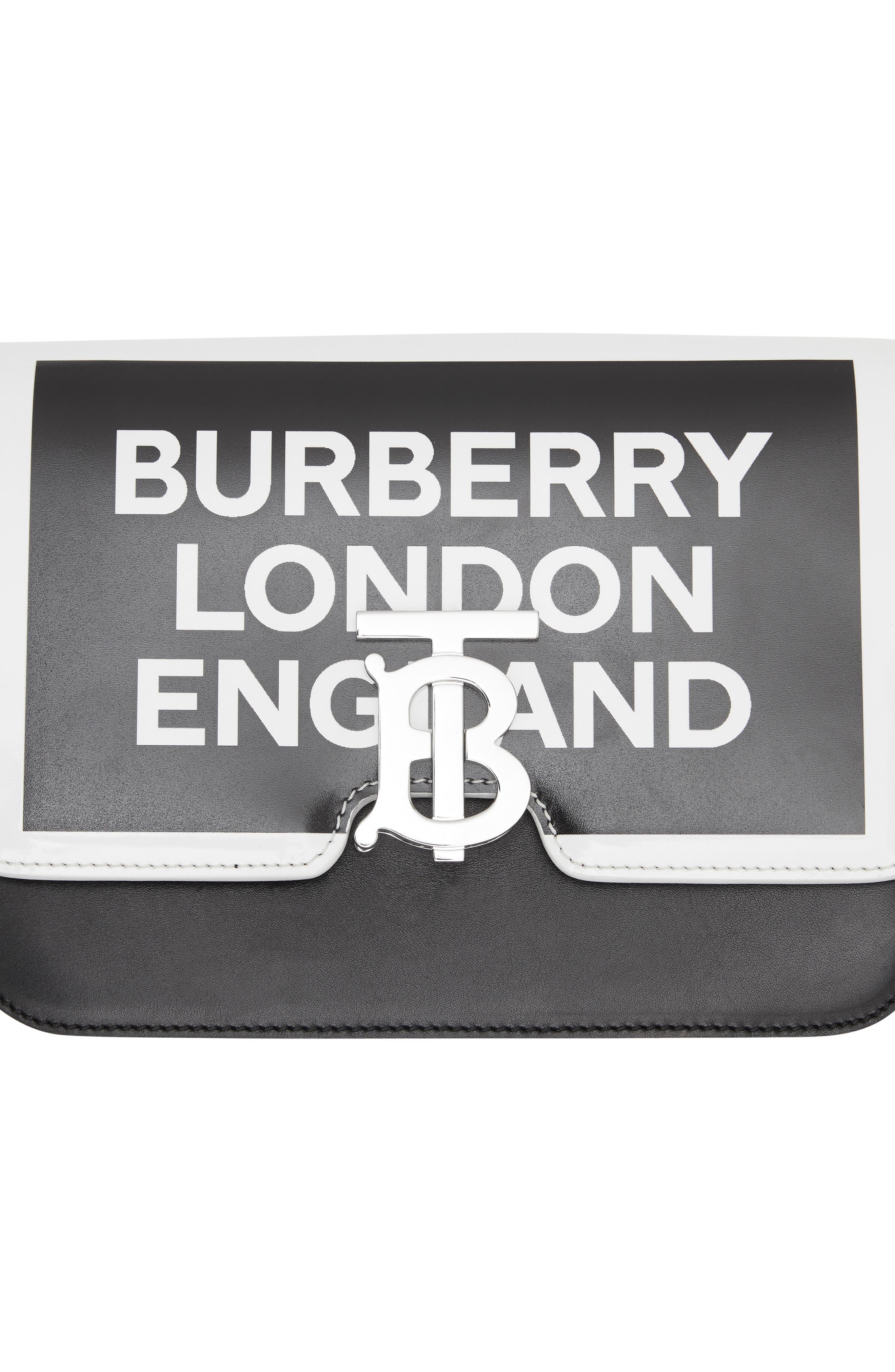 BURBERRY,                             Small Painted Edge Logo TB Crossbody Bag,                             Alternate thumbnail 7, color,                             BLACK/ WHITE