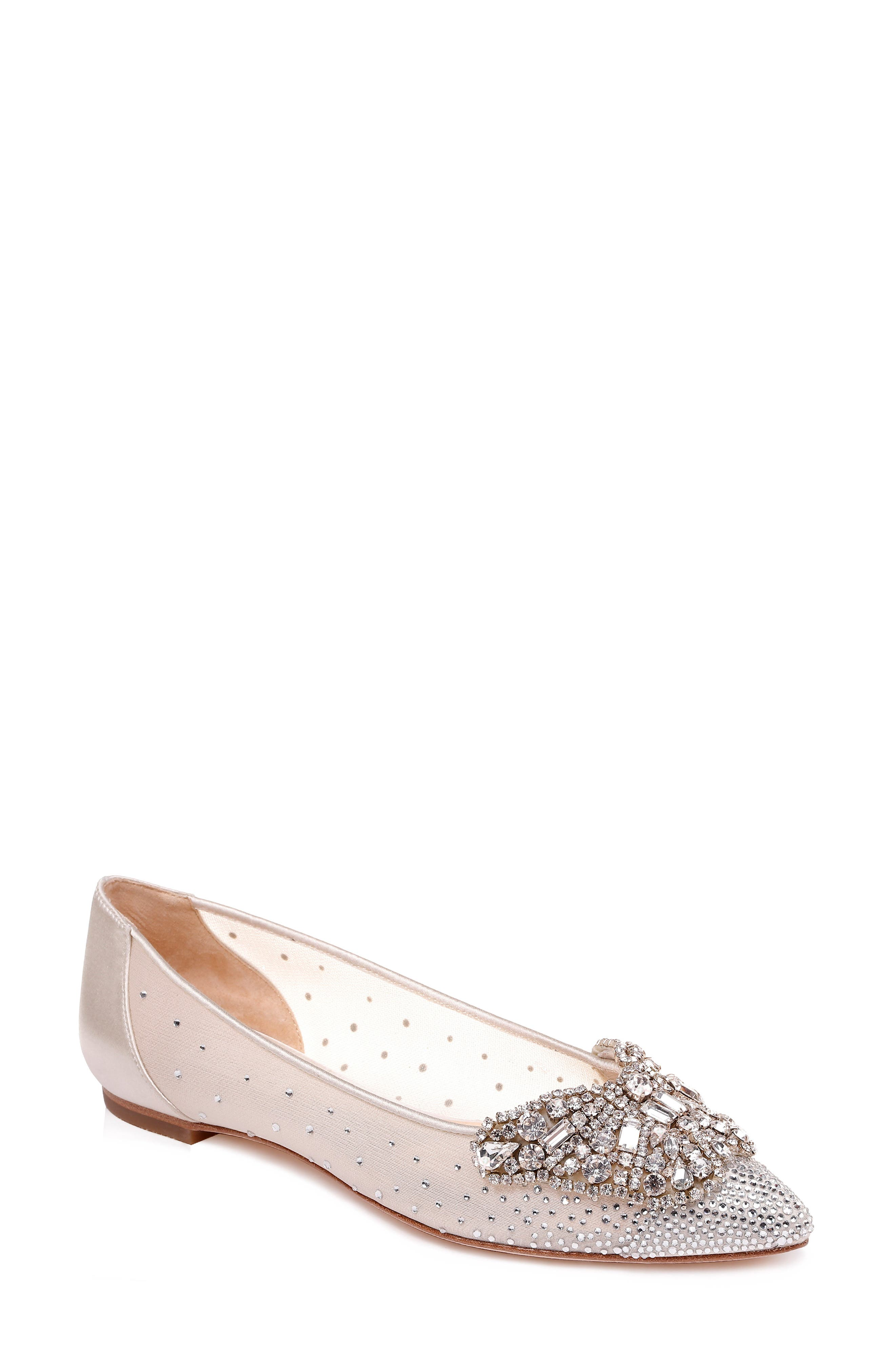 BADGLEY MISCHKA Women'S Quinn Crystal Embellished Pointed Toe Flats in Ivory Satin/ Mesh