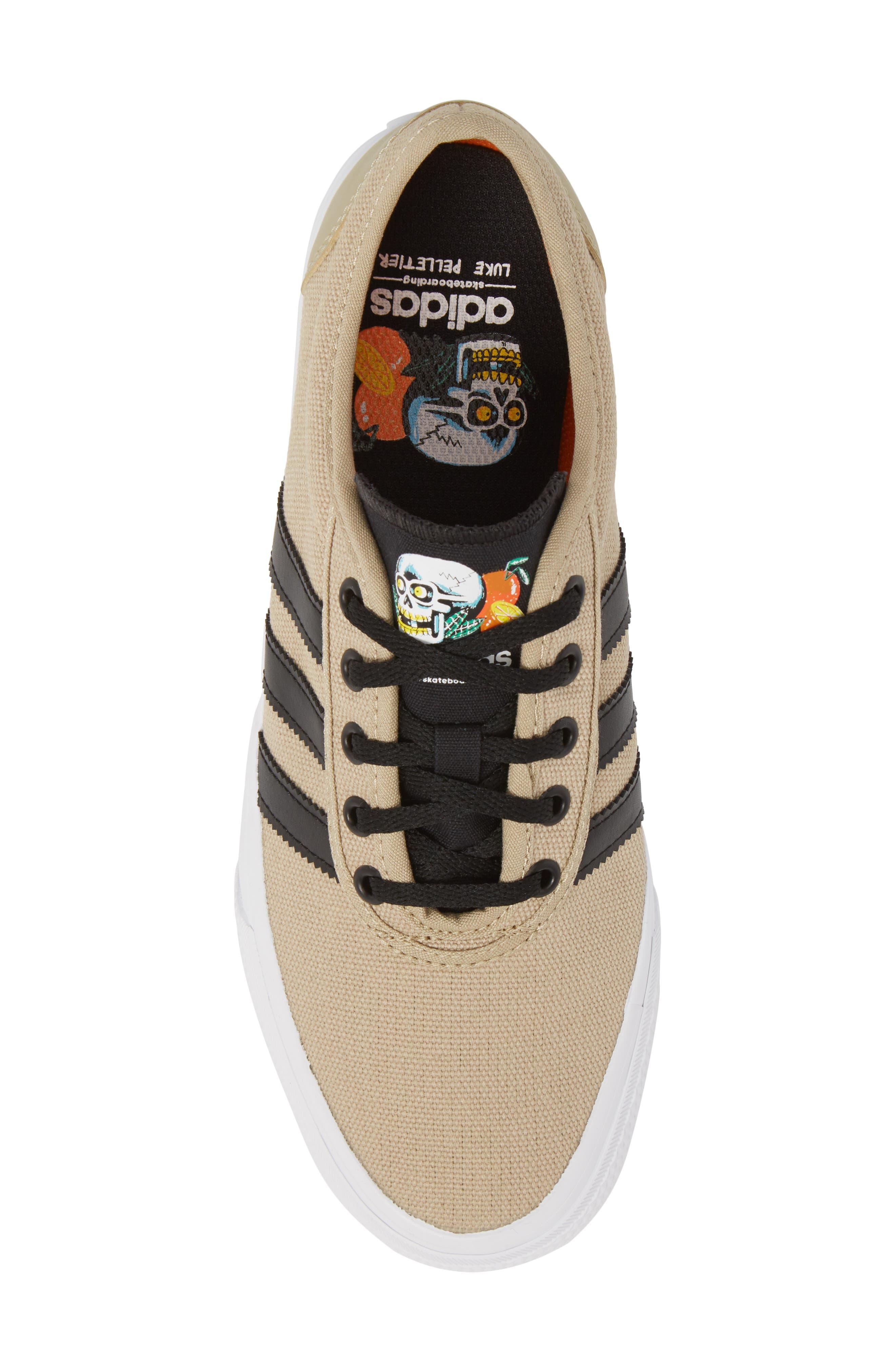 Adiease Premiere Skateboarding Sneaker,                             Alternate thumbnail 5, color,                             GOLD/ CORE BLACK/ WHITE