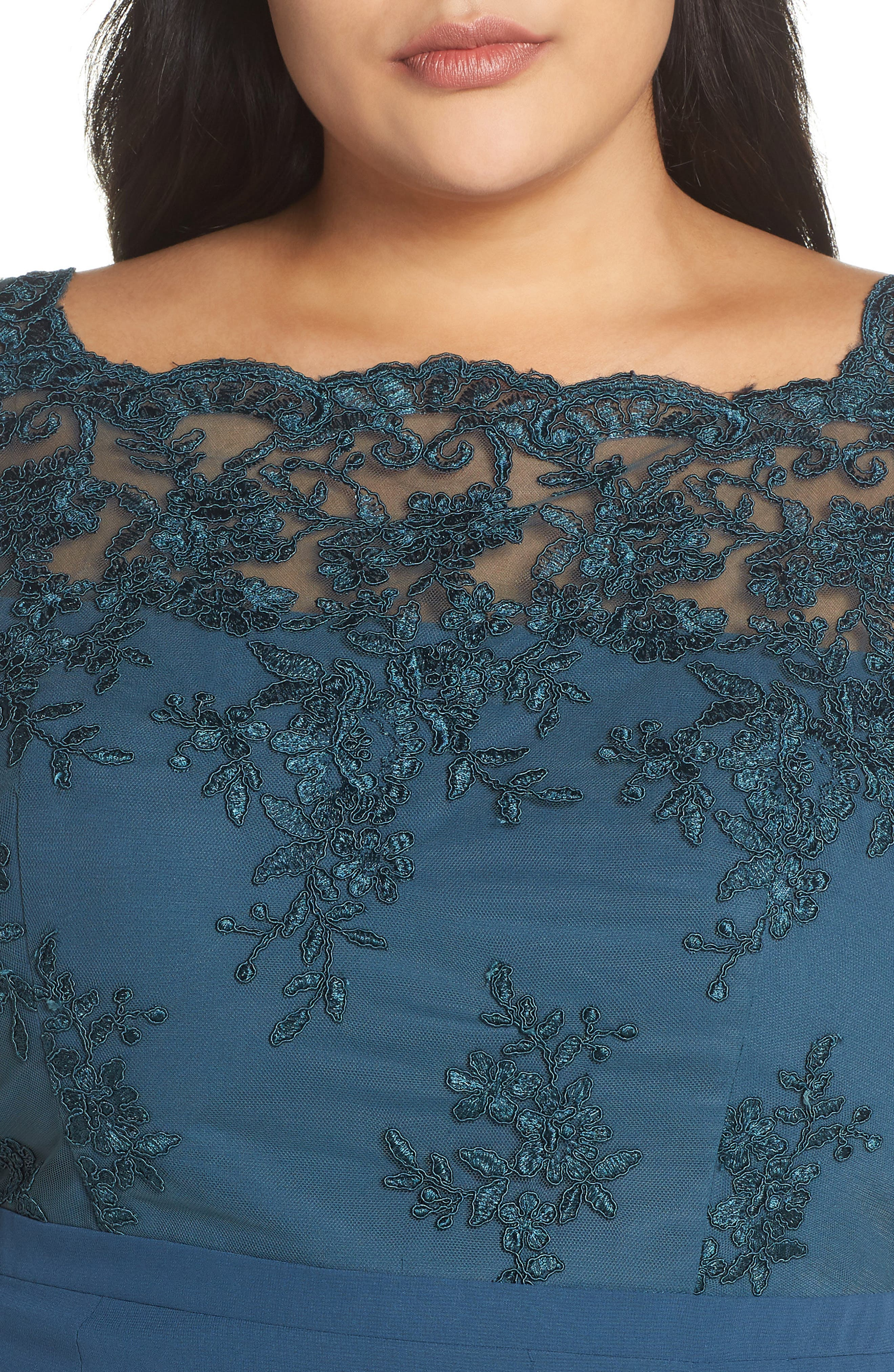 Embroidered Gown,                             Alternate thumbnail 4, color,                             GREEN