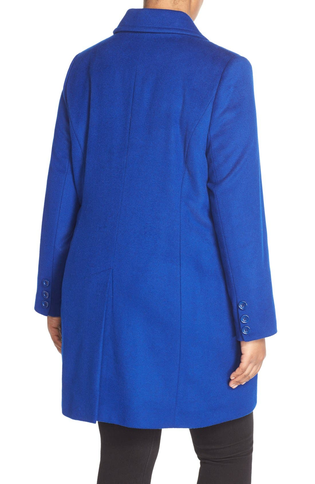 Notch Collar Wool Blend Coat,                             Alternate thumbnail 4, color,                             COBALT