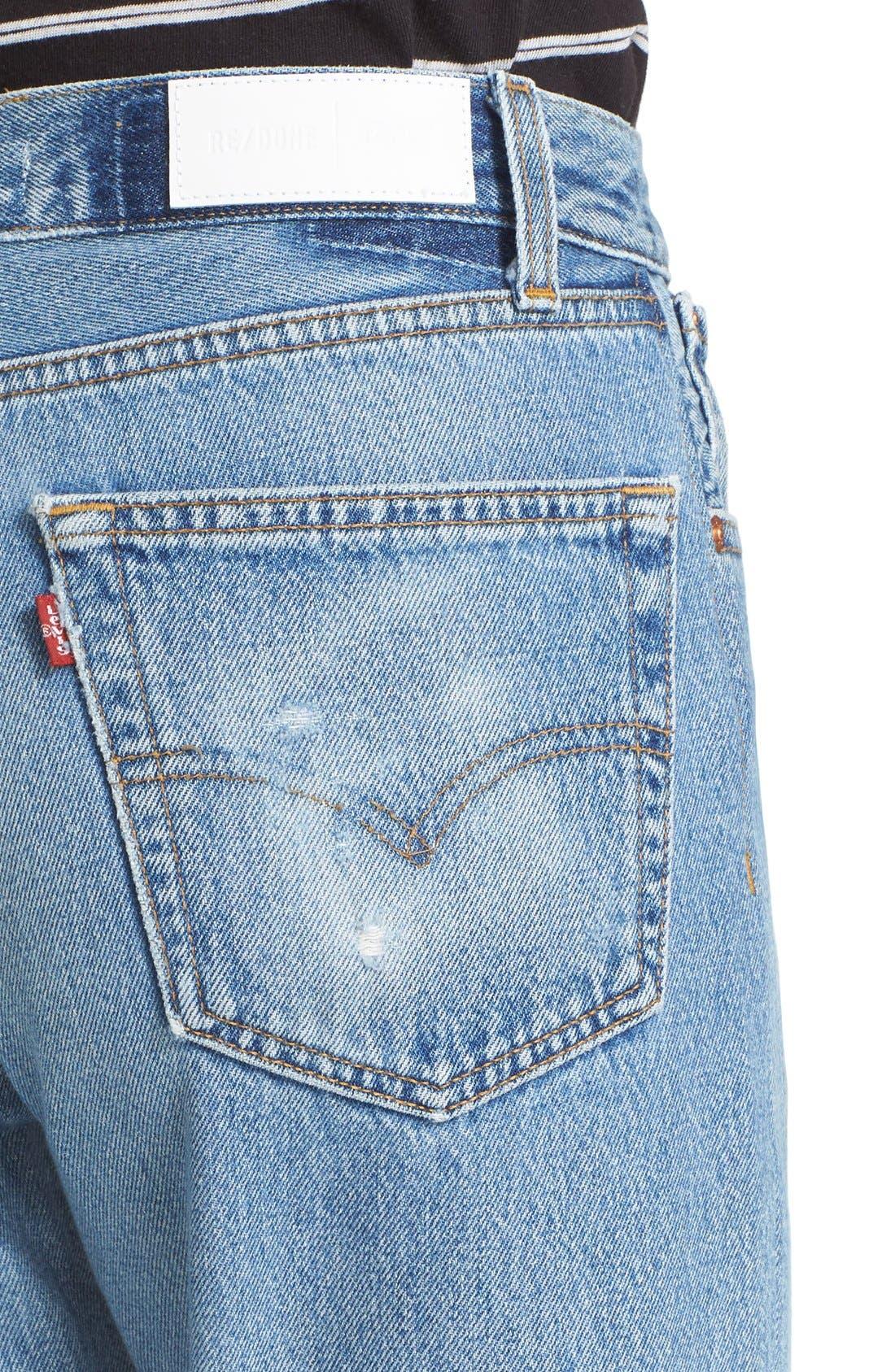 Reconstructed High Waist Ankle Crop Jeans,                             Alternate thumbnail 5, color,                             NO DESTRUCTION