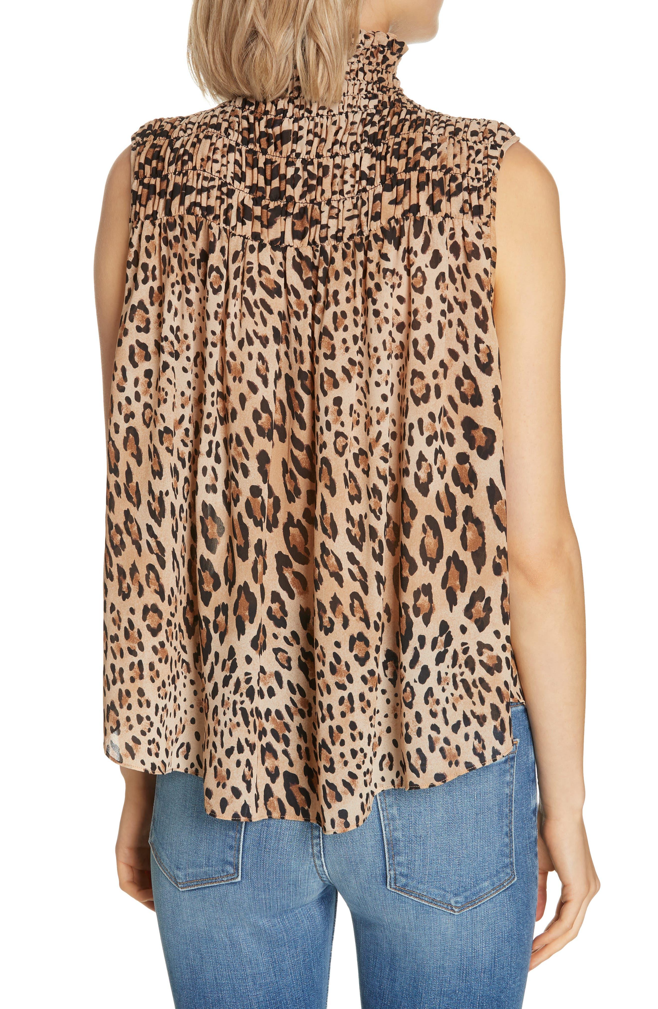 Leopard Print Smocked Silk Blouse,                             Alternate thumbnail 2, color,                             201