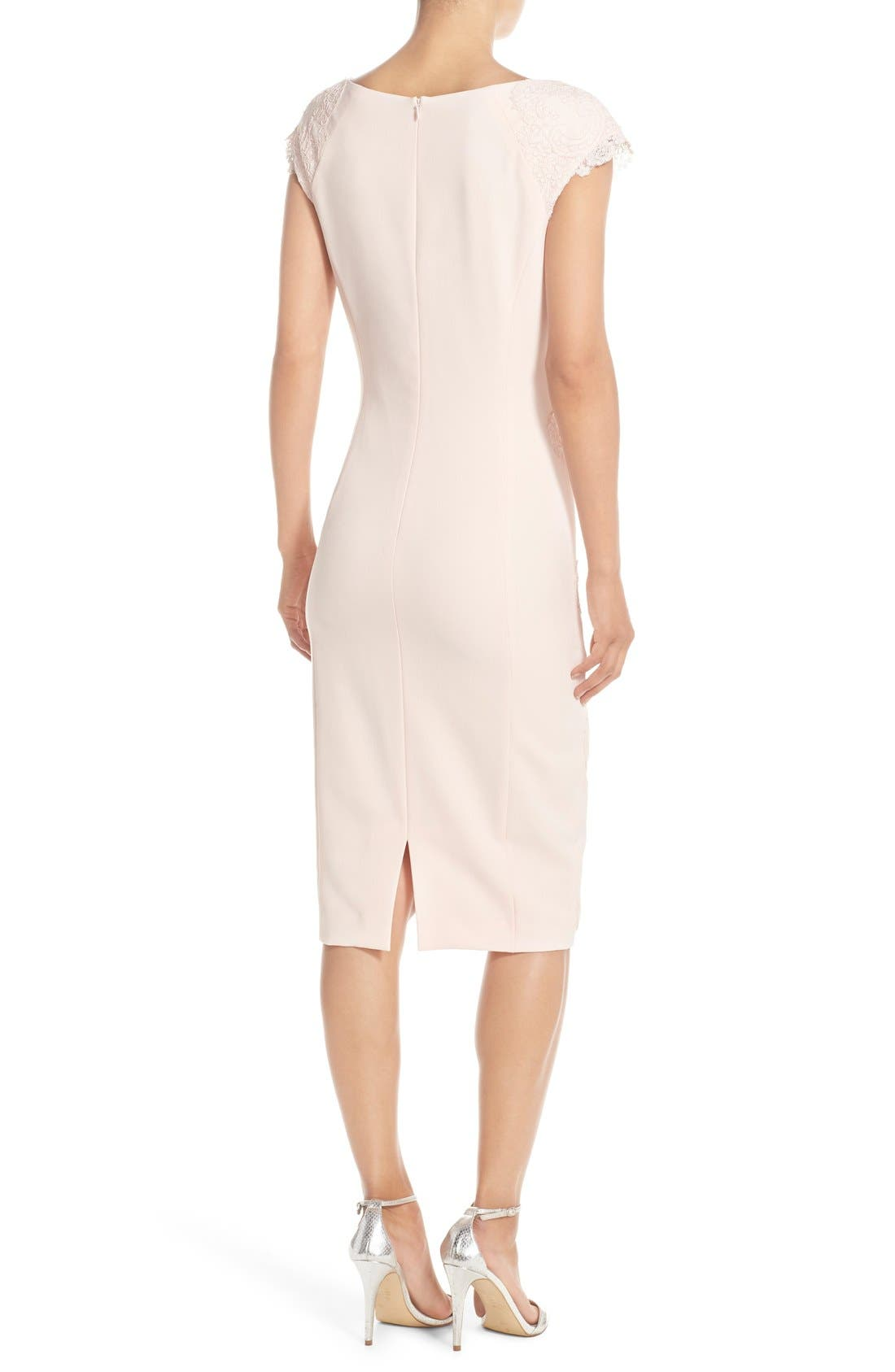 Lace Detail Crepe Sheath Dress,                             Alternate thumbnail 9, color,                             BLUSH