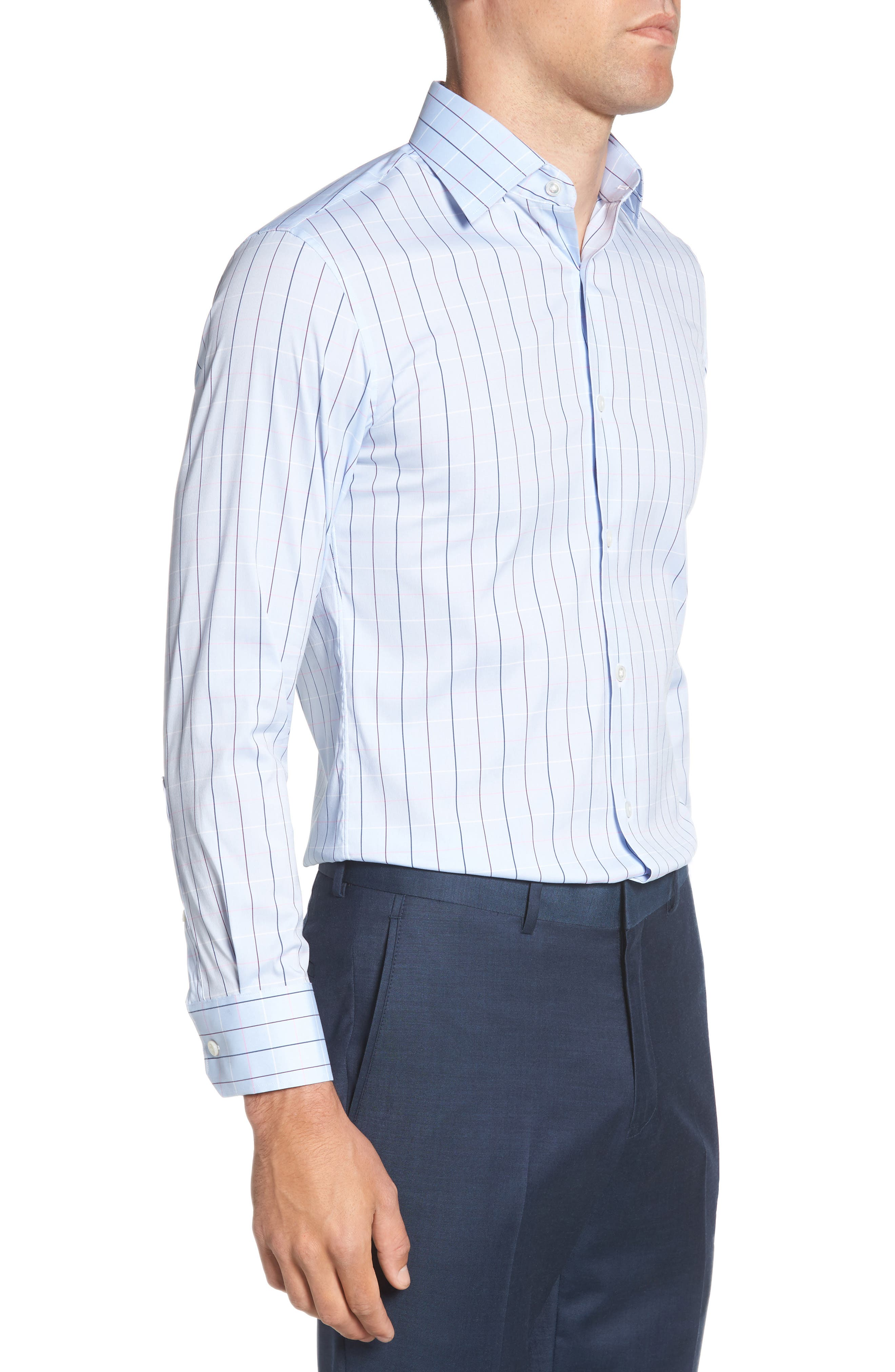 Jetsetter Slim Fit Stretch Check Dress Shirt,                             Alternate thumbnail 4, color,                             400