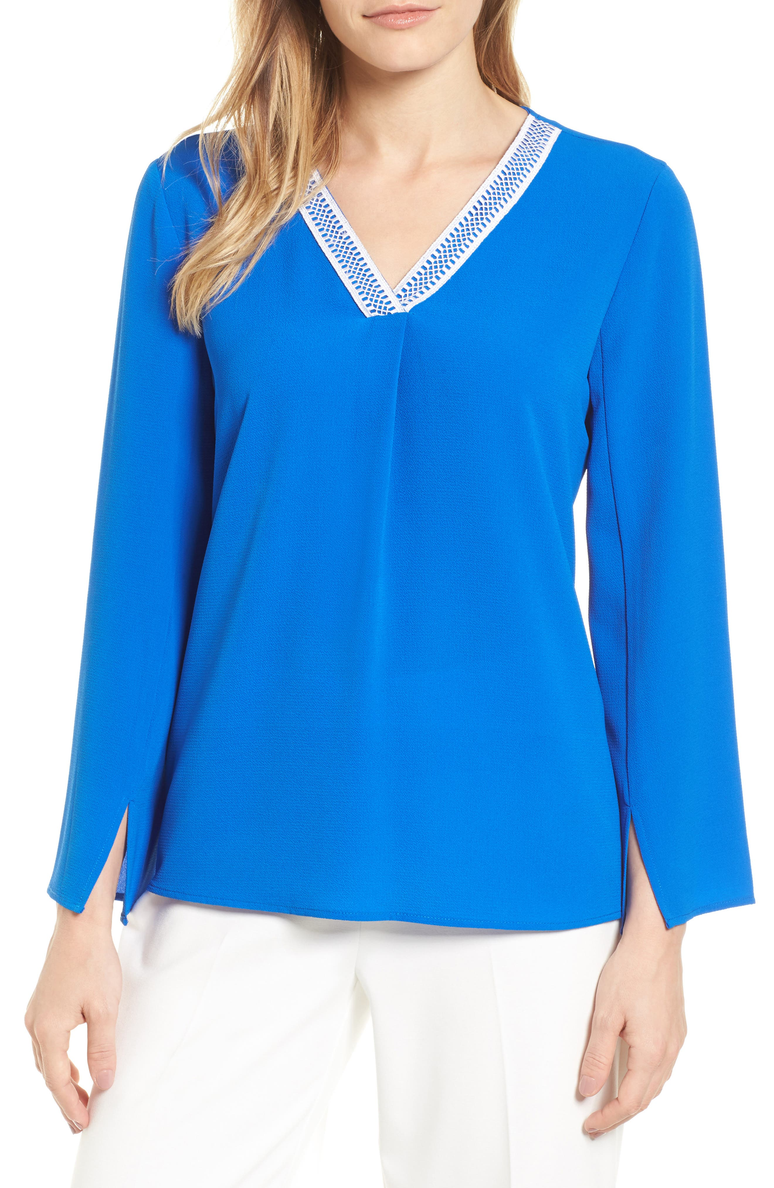 Slit Sleeve Blouse,                         Main,                         color, 497