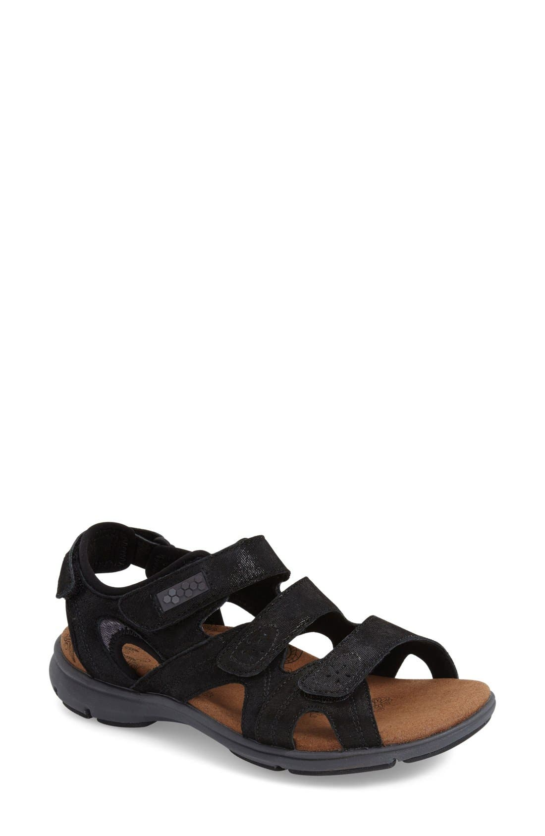 'REVsoleil' Sandal,                         Main,                         color, BLACK LEATHER