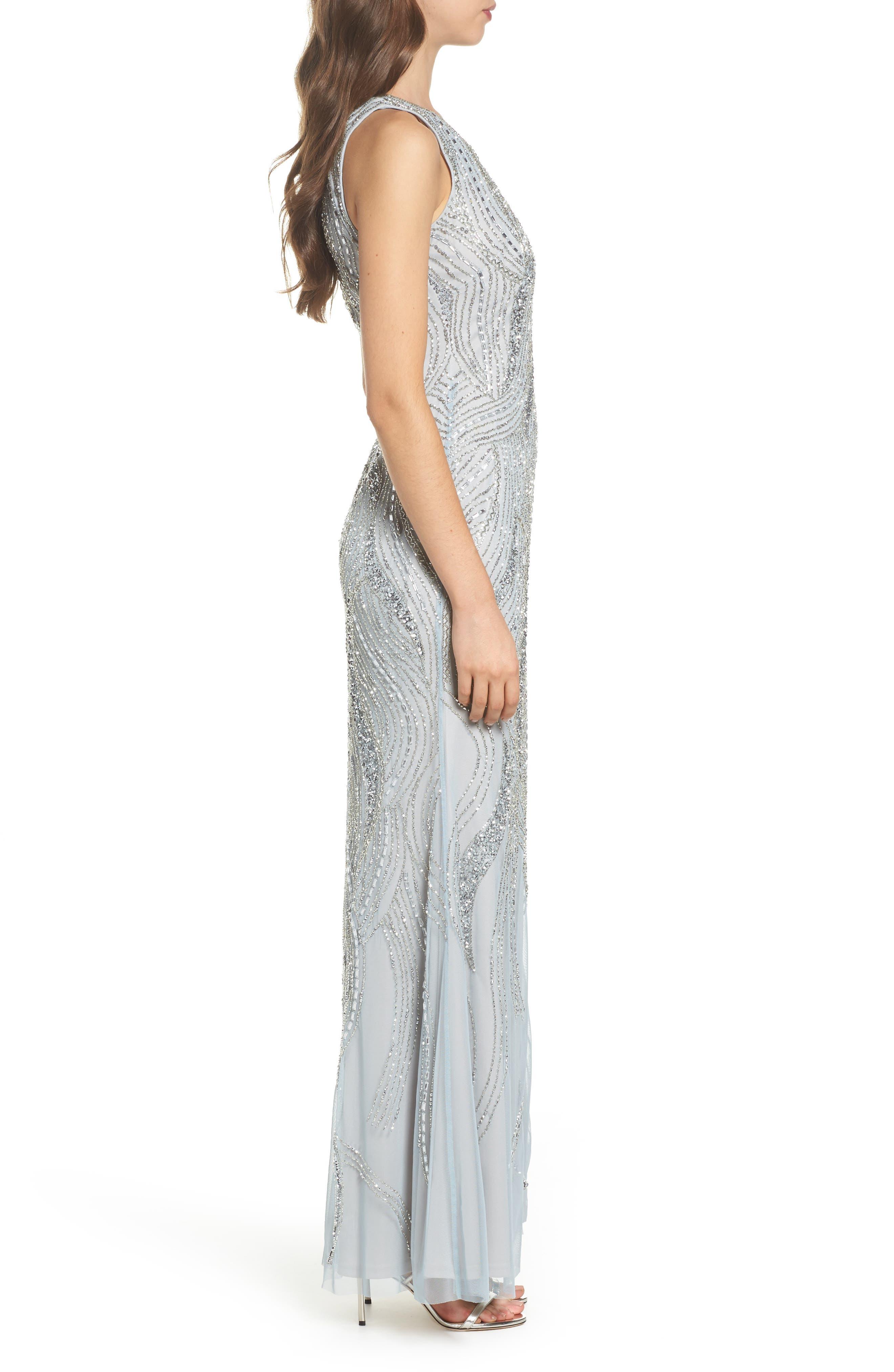 Swirl Beaded Long Dress,                             Alternate thumbnail 3, color,                             040