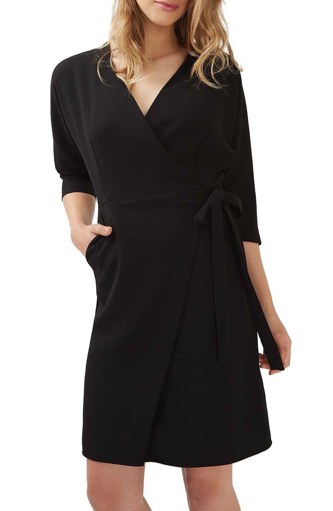 Dolman Sleeve Wrap Midi Dress,                             Main thumbnail 1, color,                             001