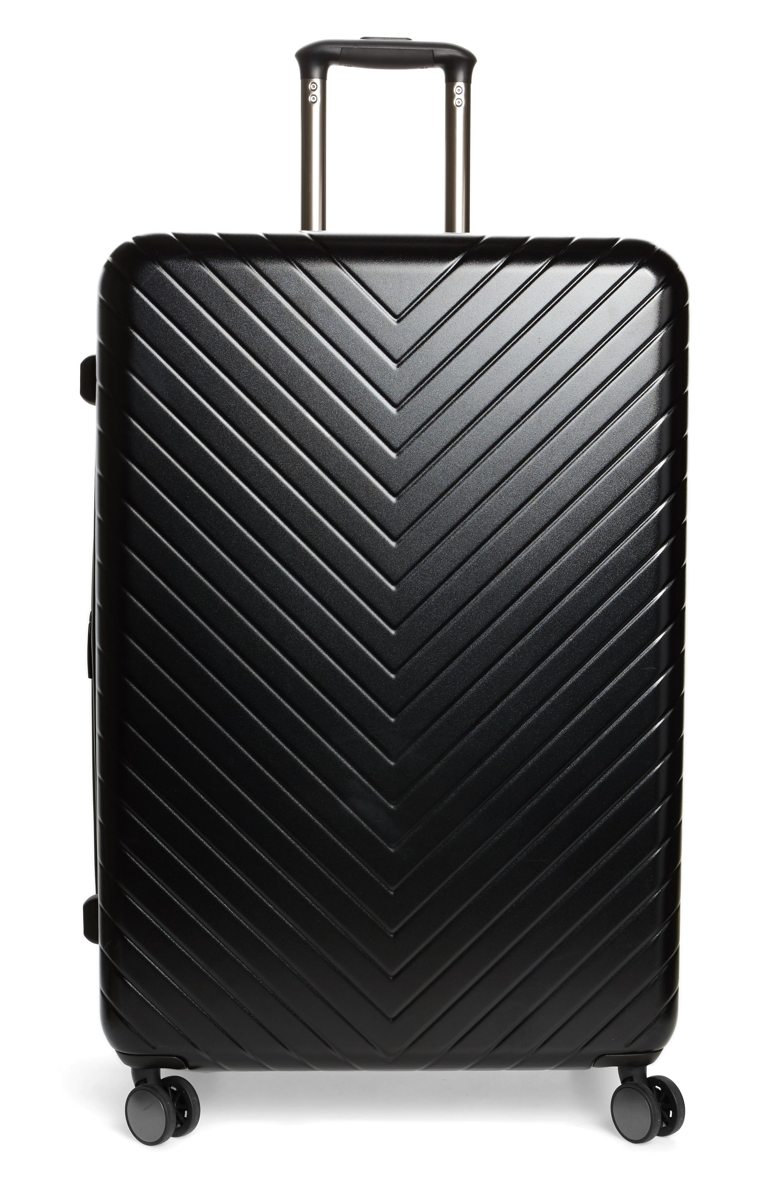Chevron 29-Inch Spinner Suitcase,                         Main,                         color, BLACK