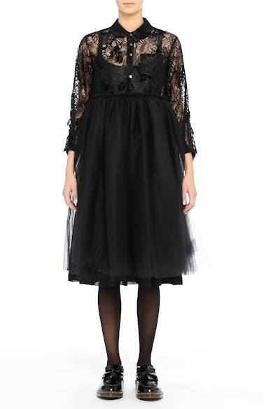 Lace Bodice Shirtdress with Tulle Skirt, video thumbnail