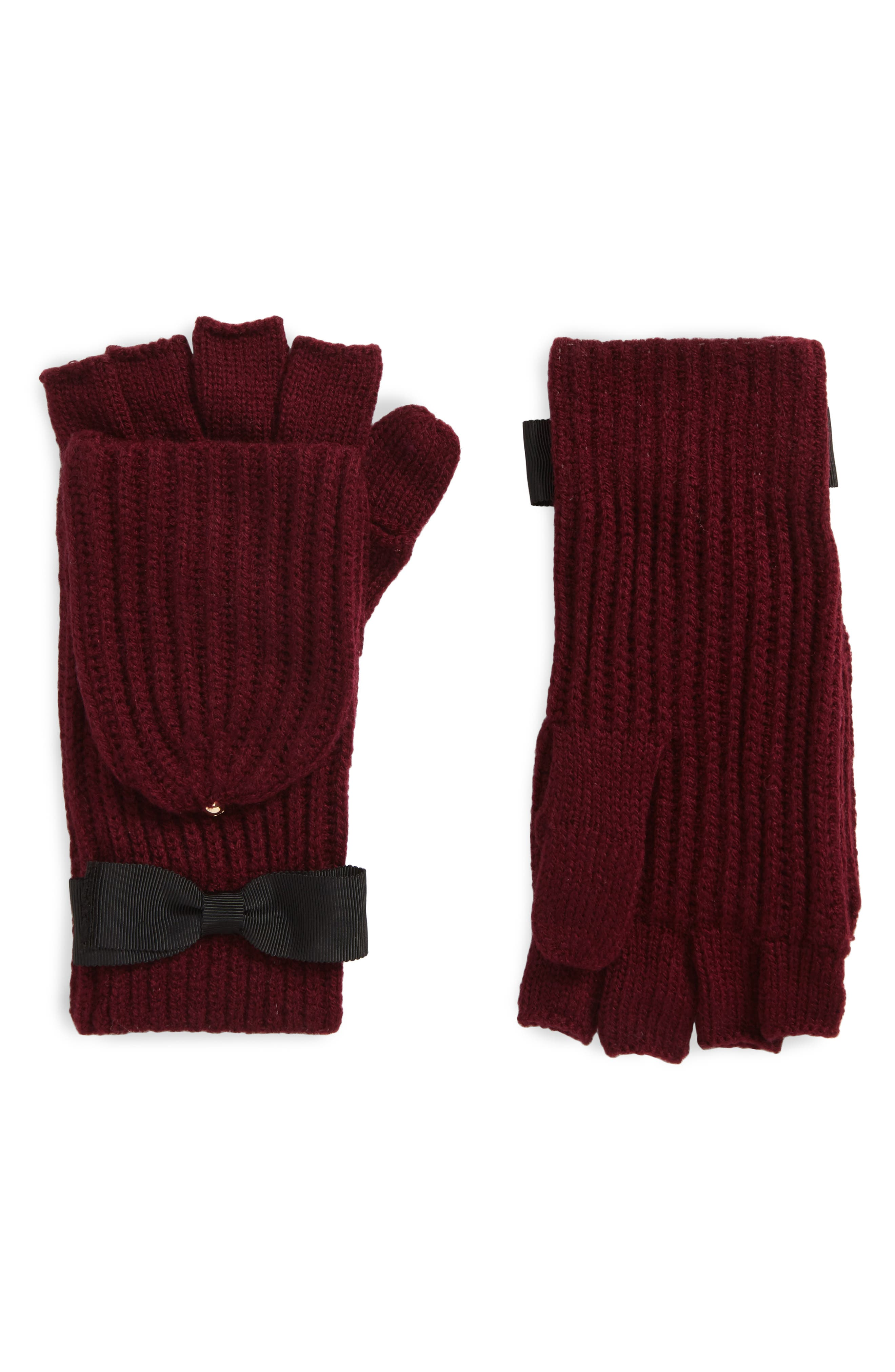 grosgrain bow convertible knit mittens,                             Main thumbnail 1, color,                             MIDNIGHT WINE