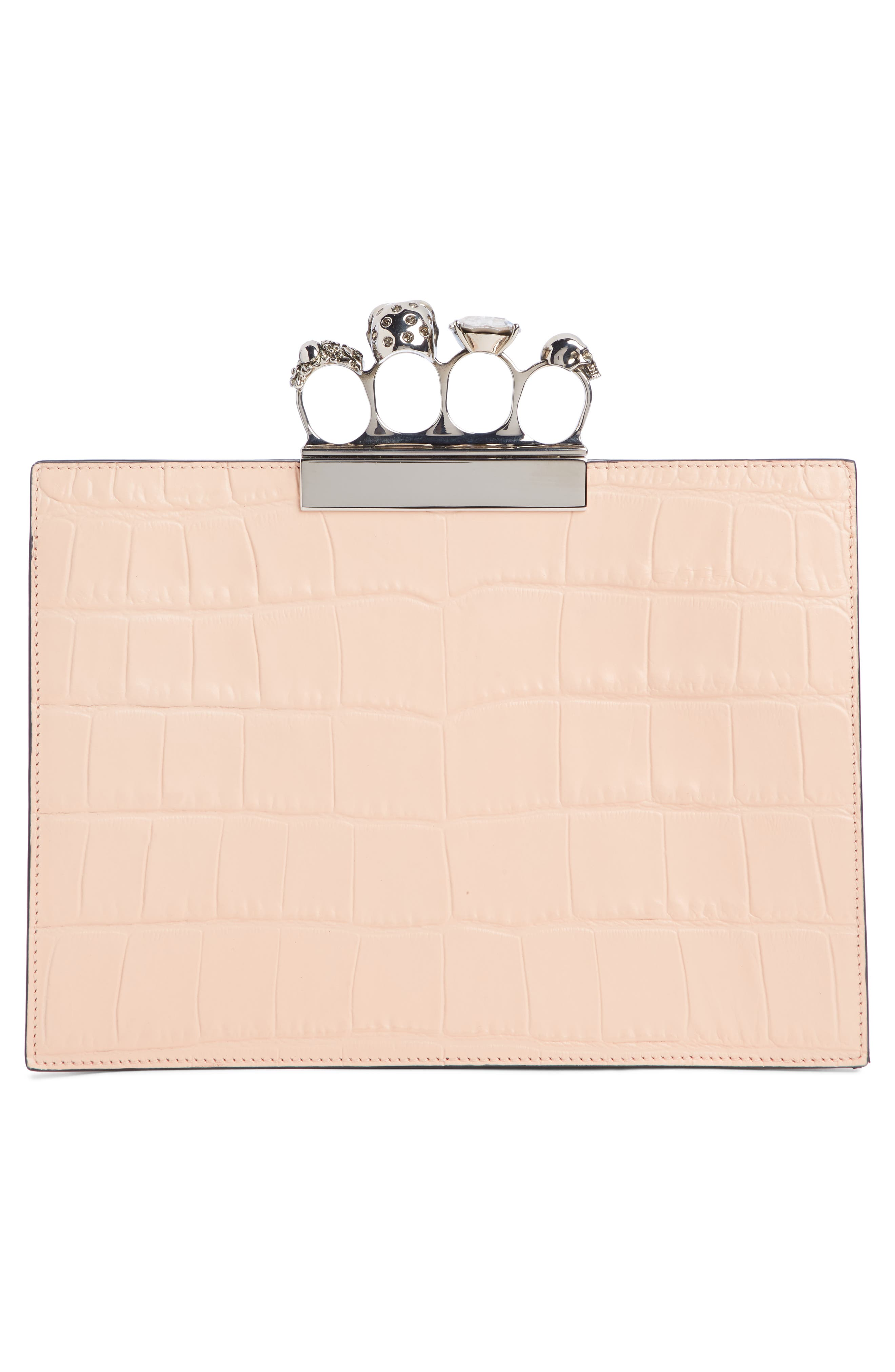 Croc Embossed Leather Knuckle Clutch,                             Alternate thumbnail 3, color,                             COLURIE/ IVORY