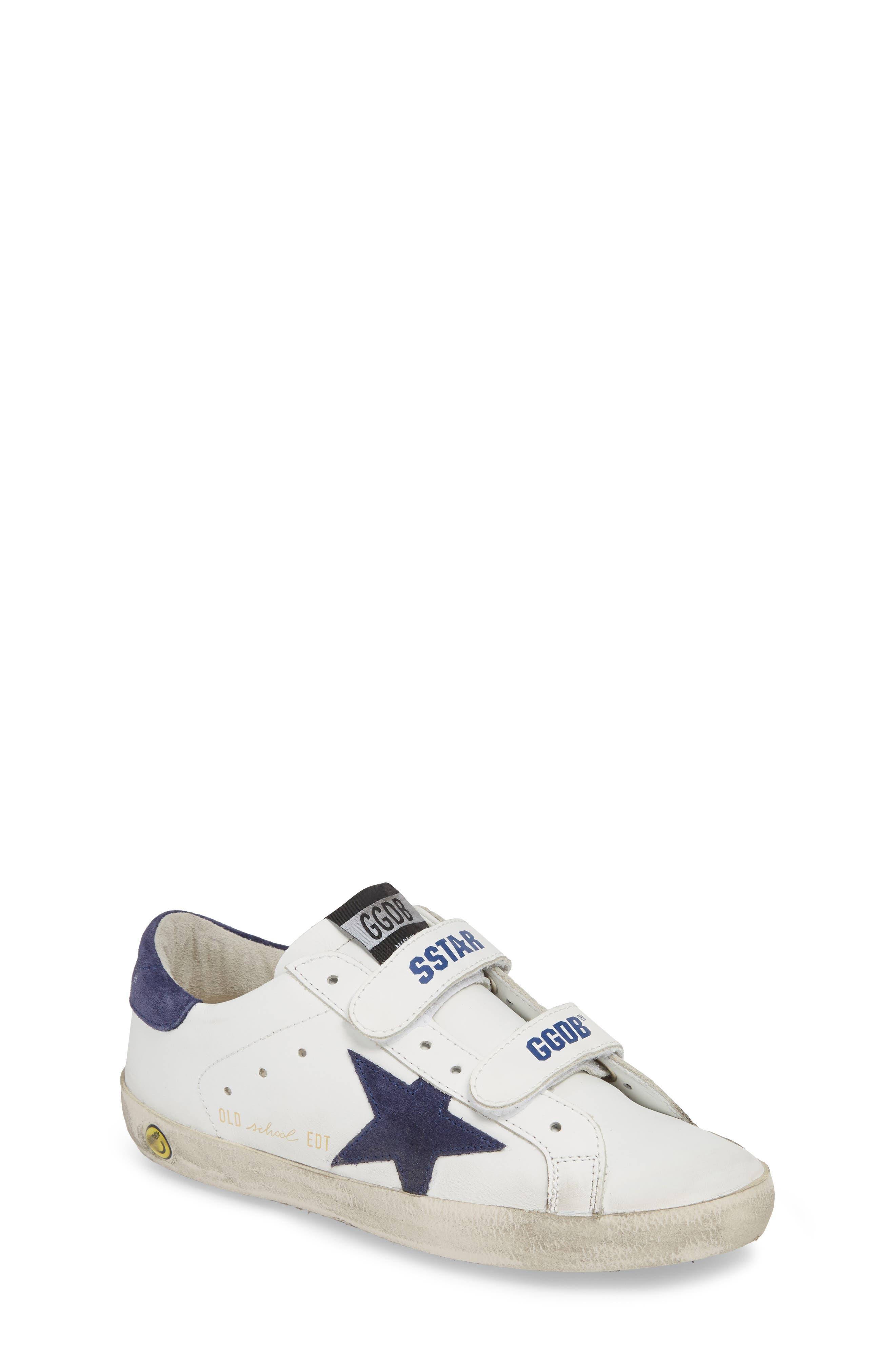 GOLDEN GOOSE,                             Glitter Old School Sneaker,                             Main thumbnail 1, color,                             WHITE LEATHER/ NAVY STAR