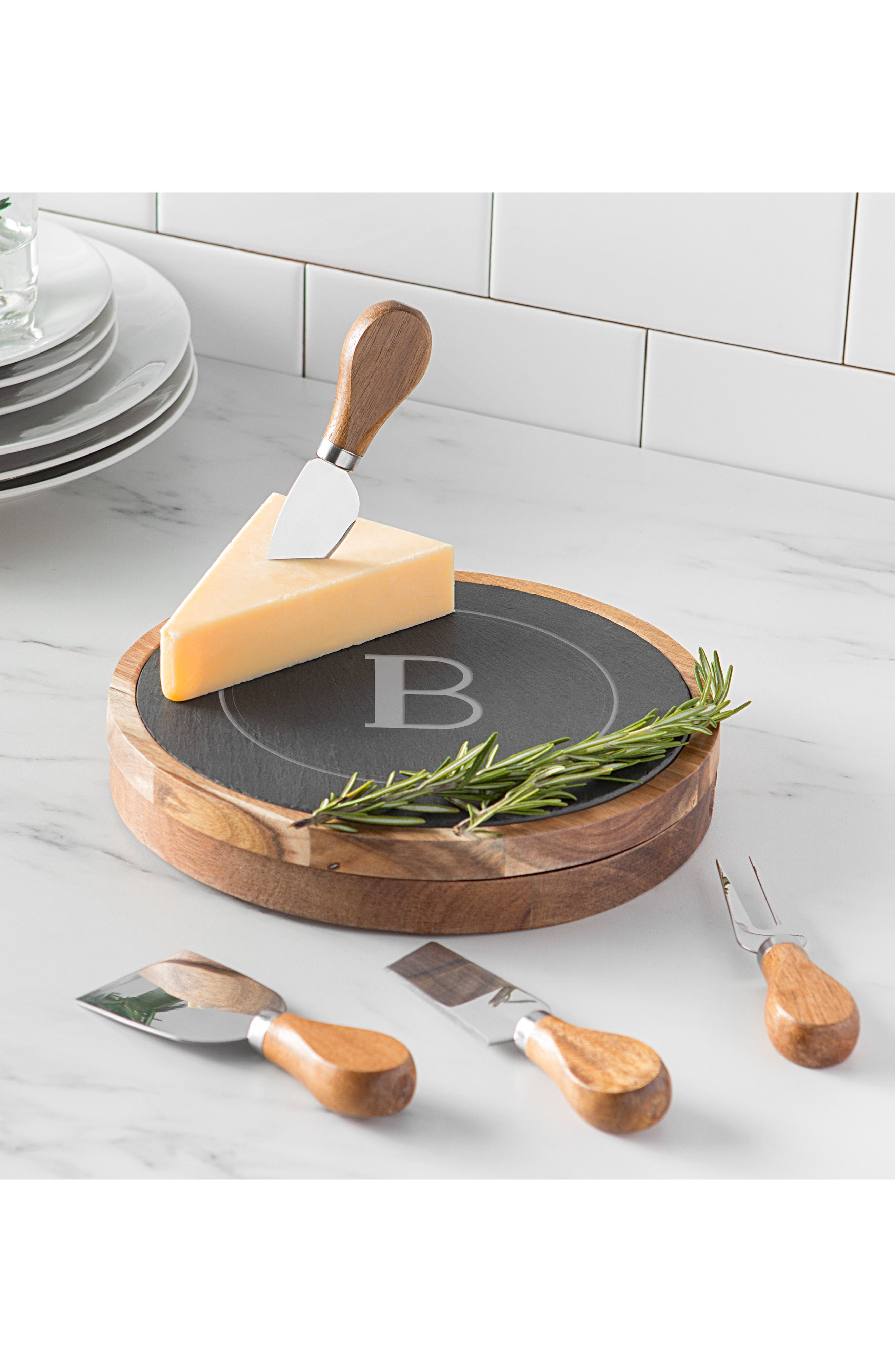 Monogram 5-Piece Cheese Board & Utensil Set,                             Alternate thumbnail 7, color,                             BROWN
