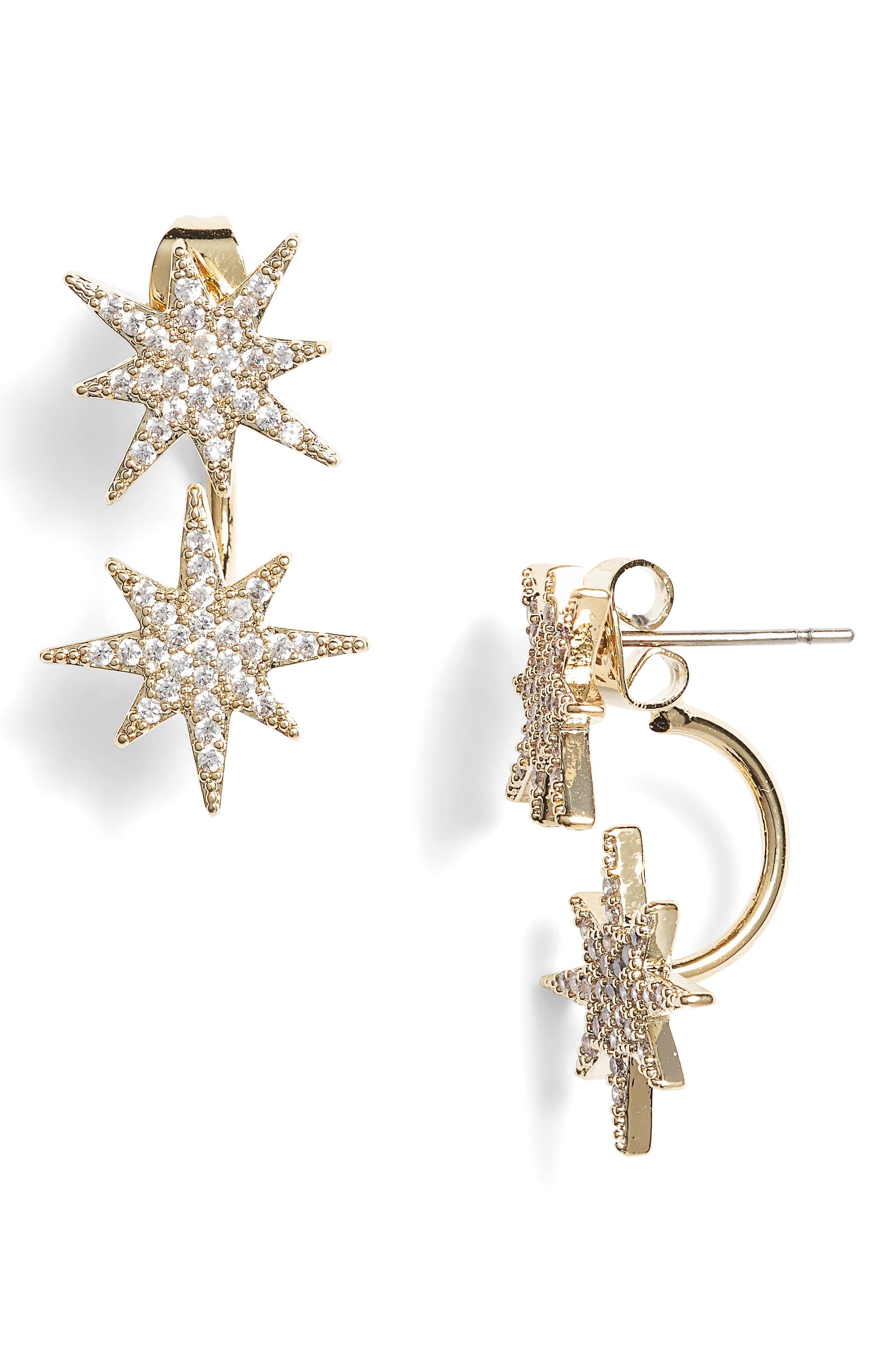 Small Starburst Ear Jackets,                             Main thumbnail 1, color,                             GOLD