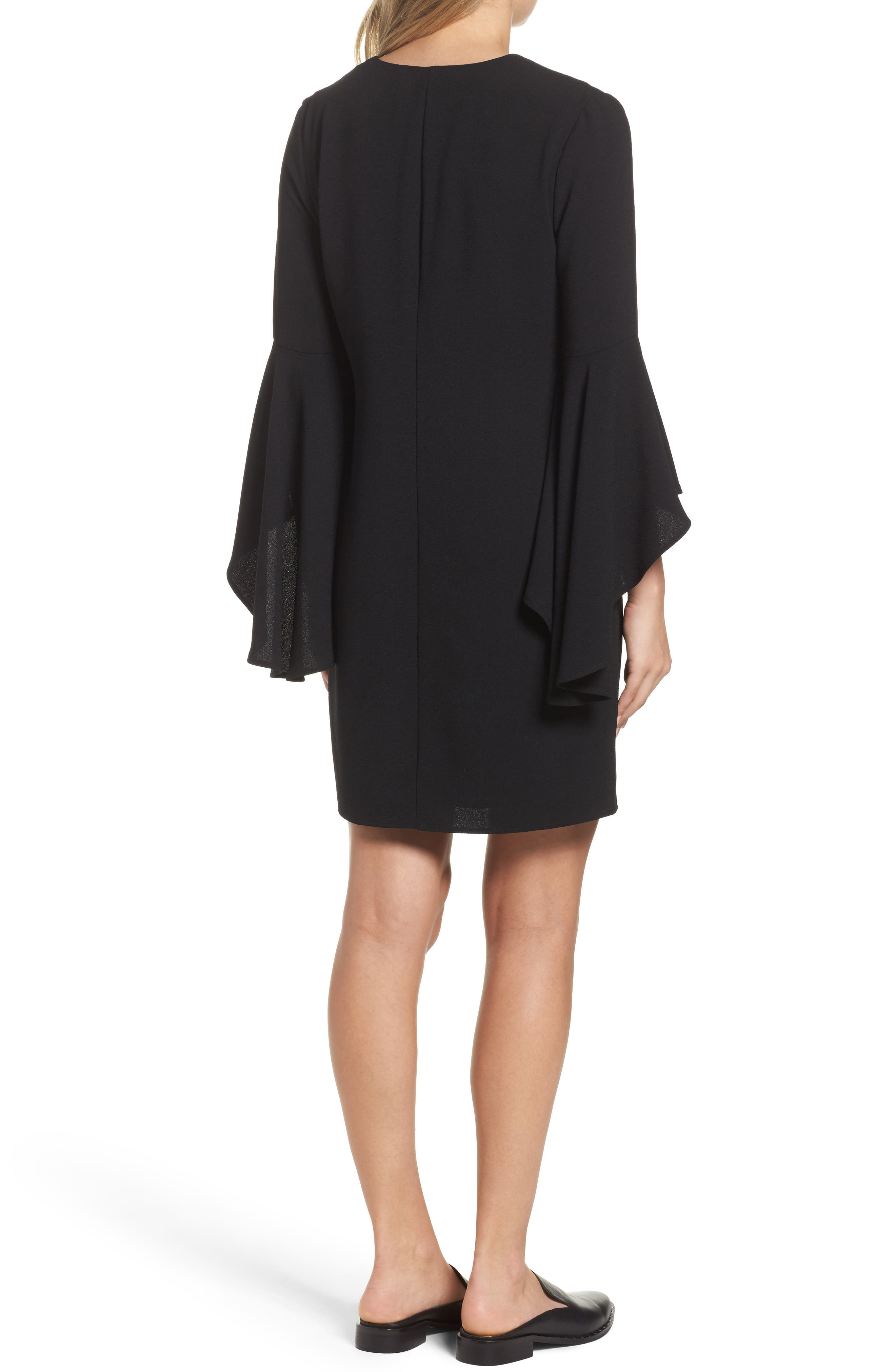 Bell Sleeve Shift Dress,                             Alternate thumbnail 2, color,                             001