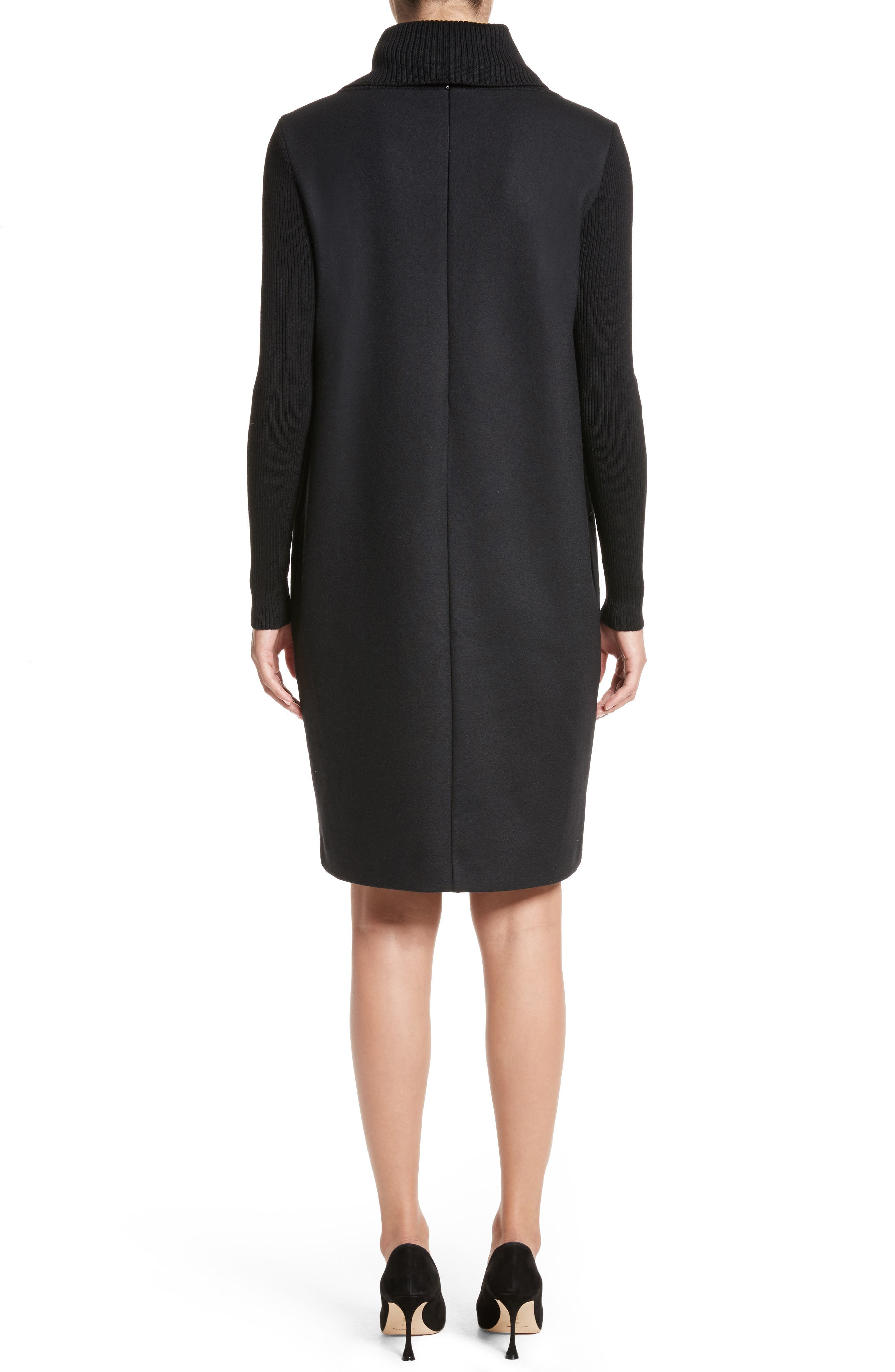 Cancan Wool Jersey Dress with Removable Knit Cowl,                             Alternate thumbnail 2, color,                             001