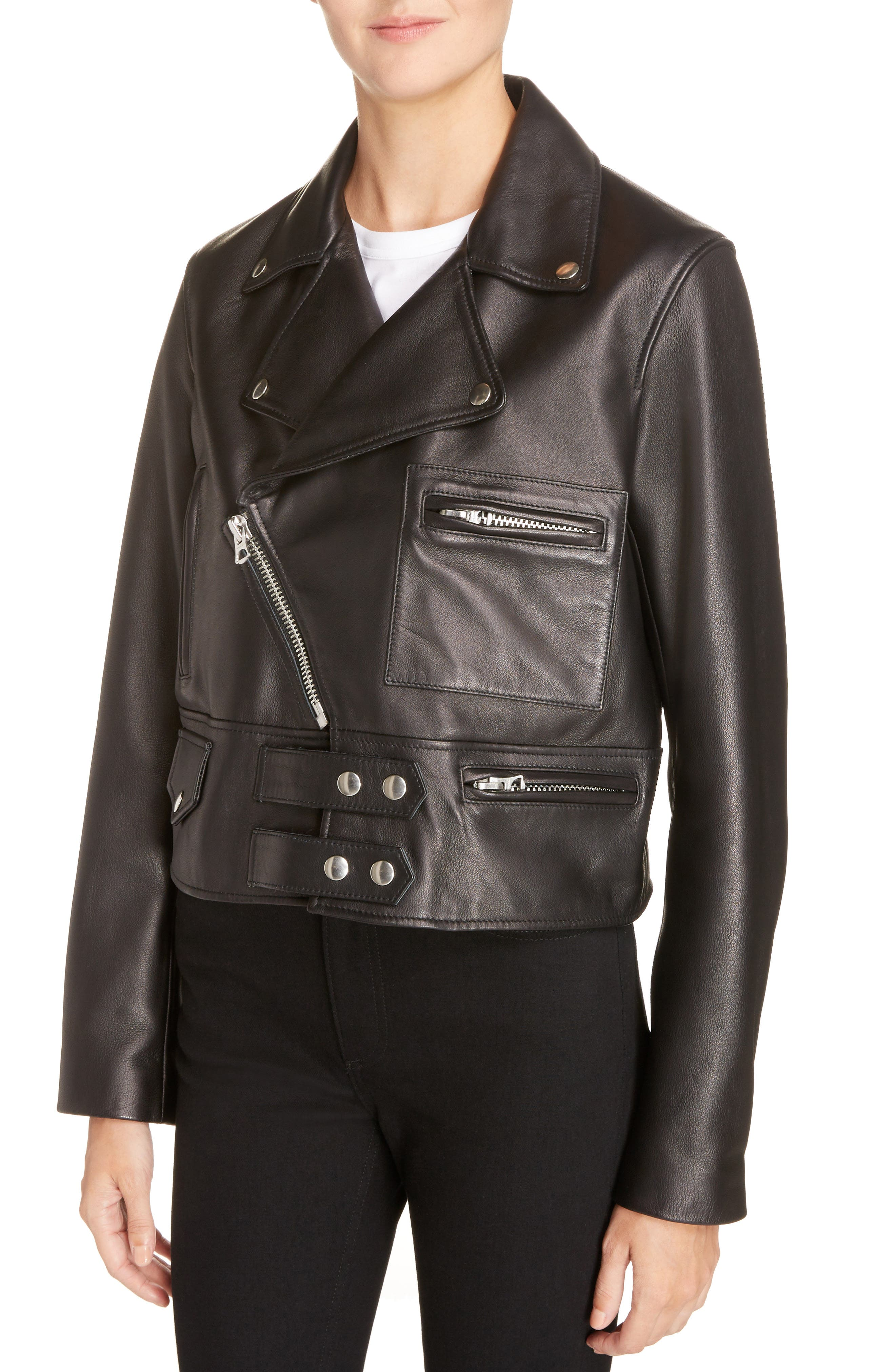 Suokki Leather Moto Jacket,                             Alternate thumbnail 4, color,                             001