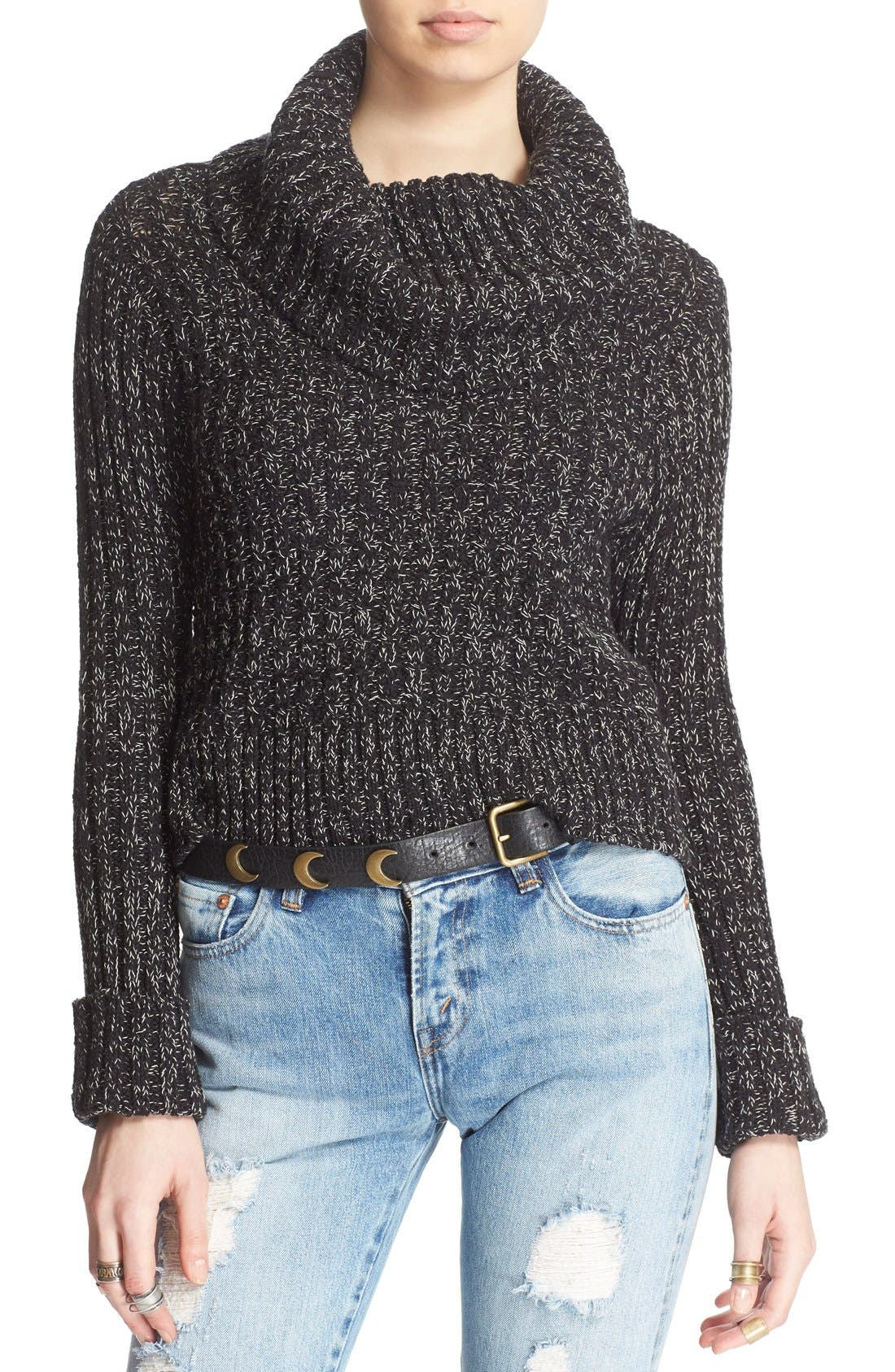 'Twisted Cable' Turtleneck Sweater,                             Main thumbnail 1, color,                             001