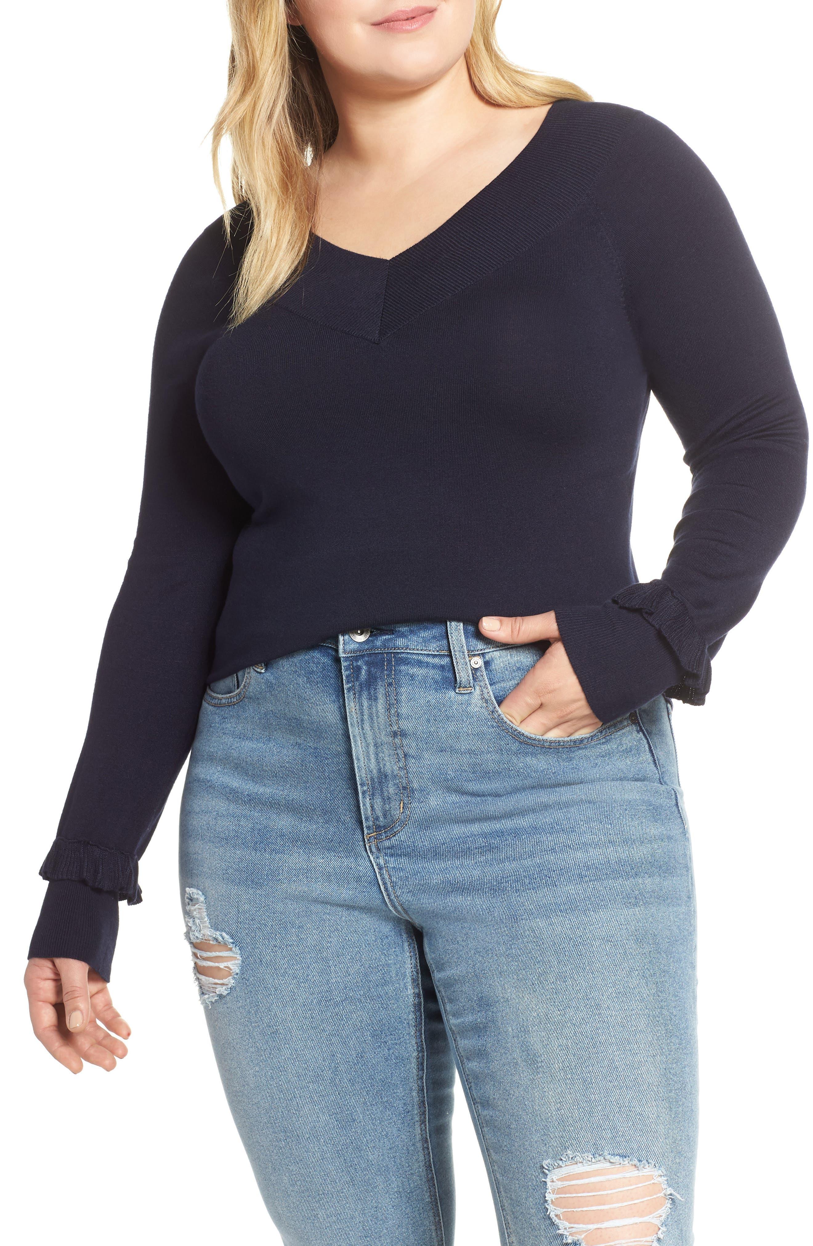Plus Size Lost Ink Ruffle Cuff Sweater, Blue