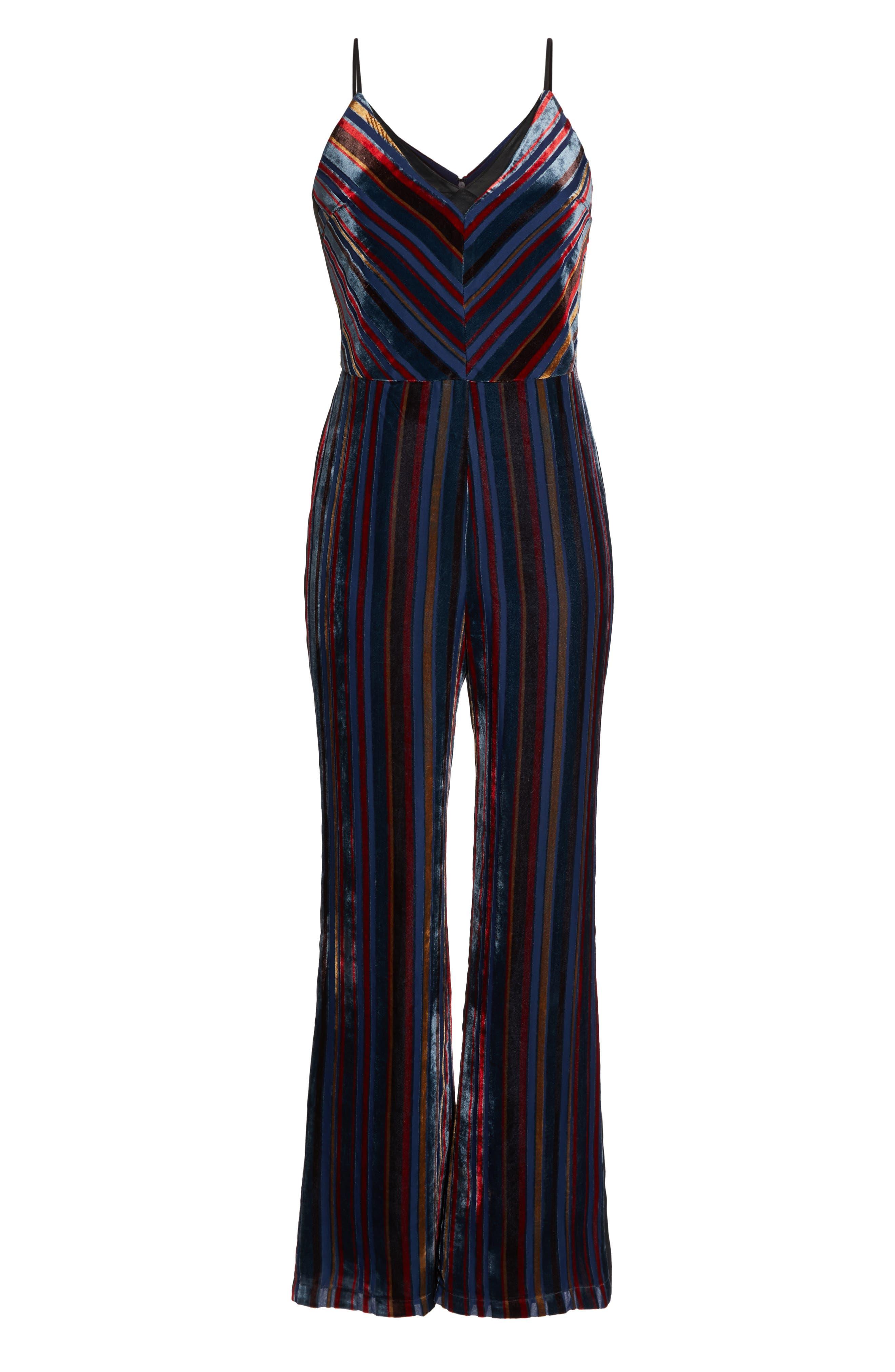 Stripe Velvet Jumpsuit,                             Alternate thumbnail 7, color,                             NAVY MULTI
