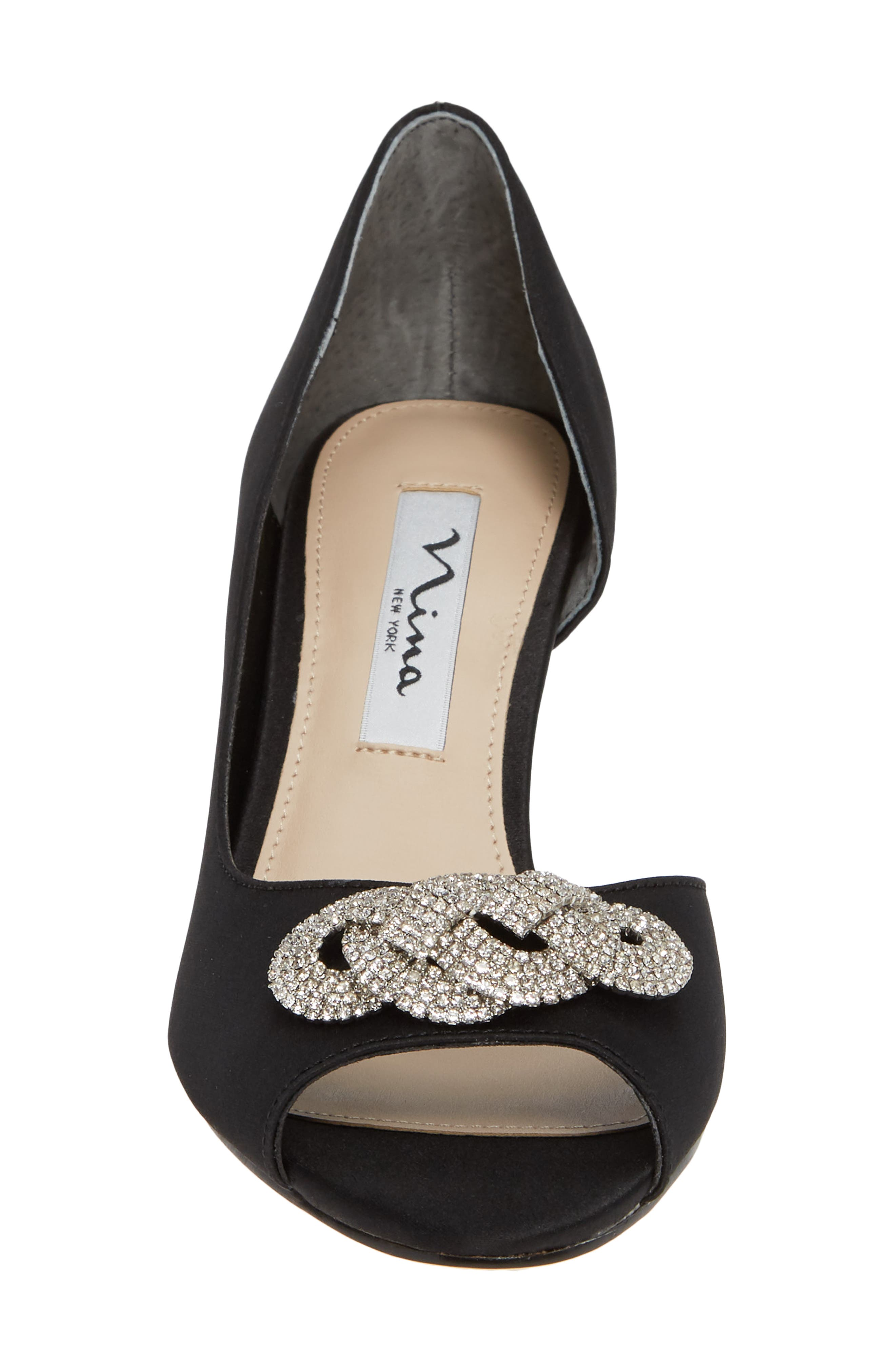 Madolyn Embellished Open Toe Pump,                             Alternate thumbnail 4, color,                             BLACK SATIN