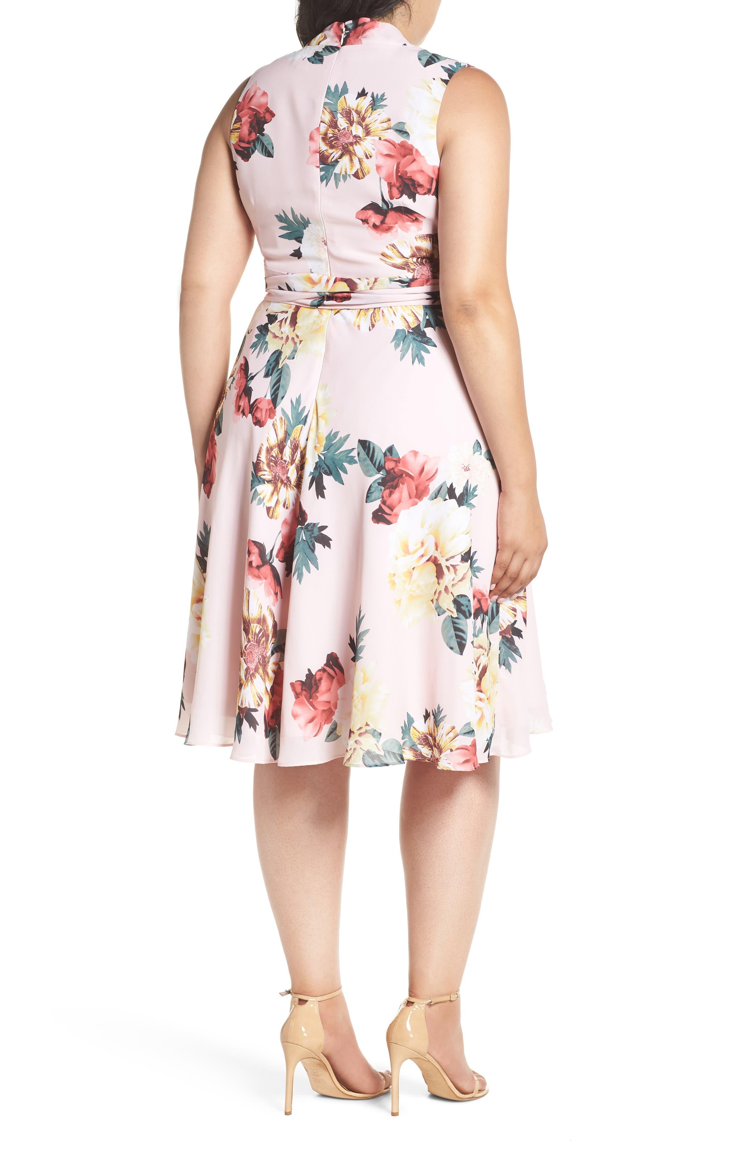 Floral Print Tie Waist Fit & Flare Dress,                             Alternate thumbnail 2, color,