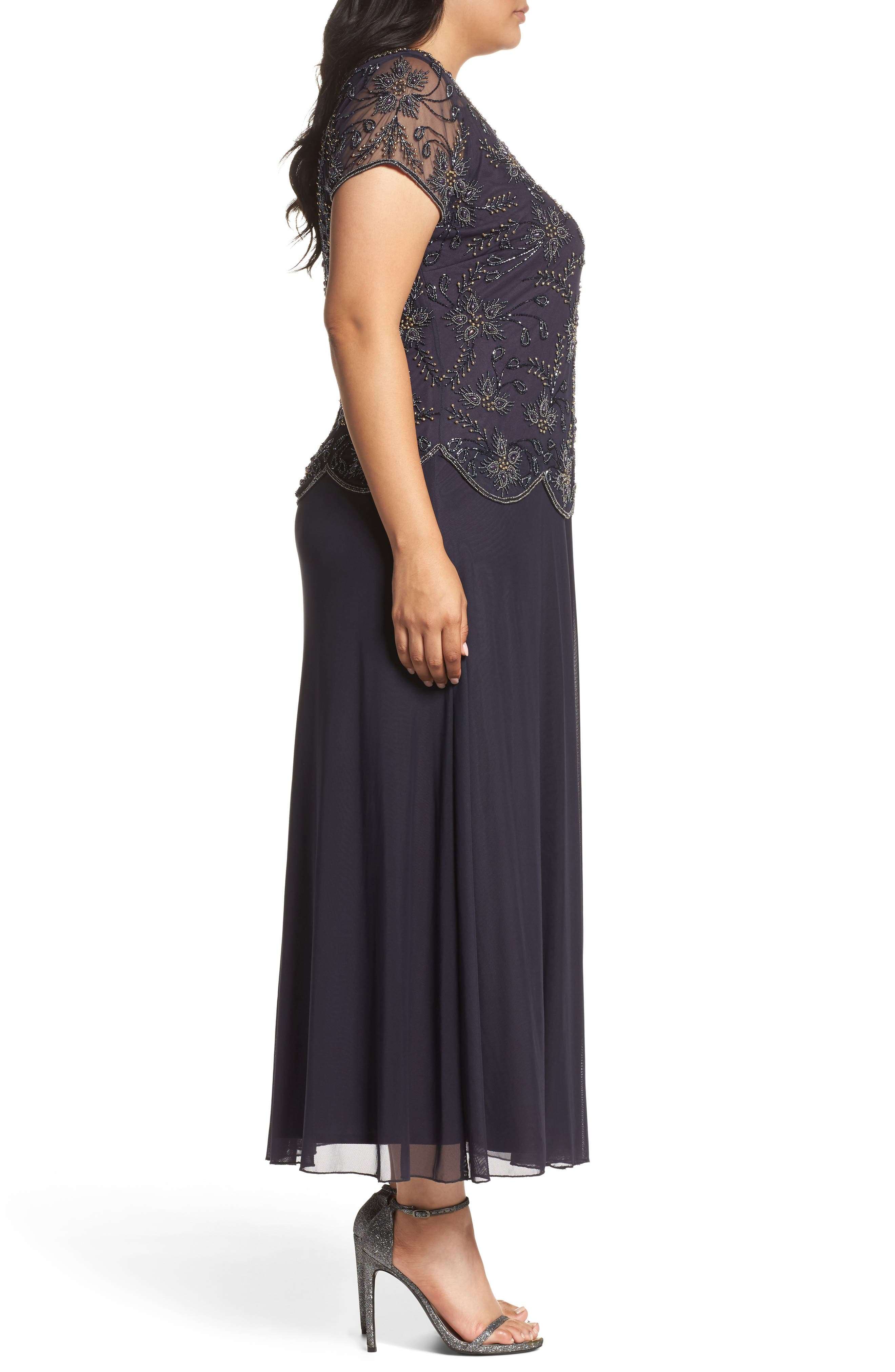 Embellished Mock Two-Piece Maxi Dress,                             Alternate thumbnail 3, color,                             503